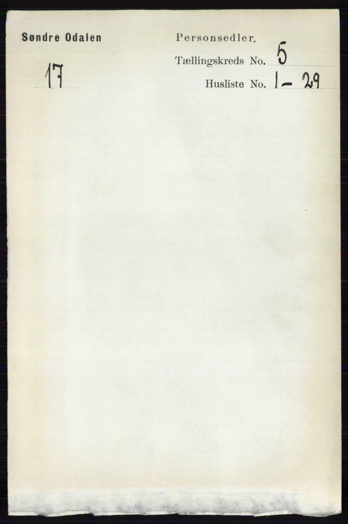 RA, Folketelling 1891 for 0419 Sør-Odal herred, 1891, s. 2329