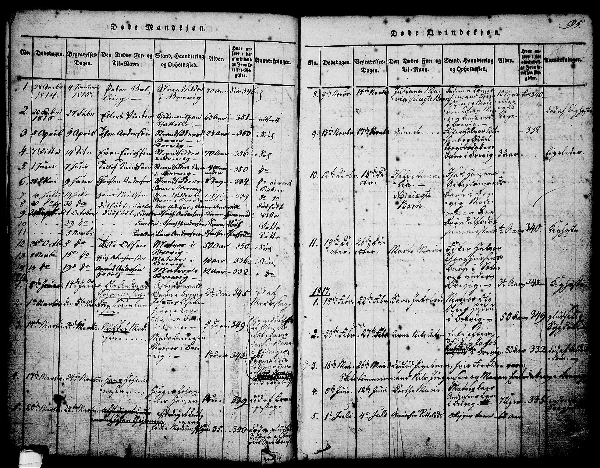 SAKO, Brevik kirkebøker, G/Ga/L0001: Klokkerbok nr. 1, 1814-1845, s. 95