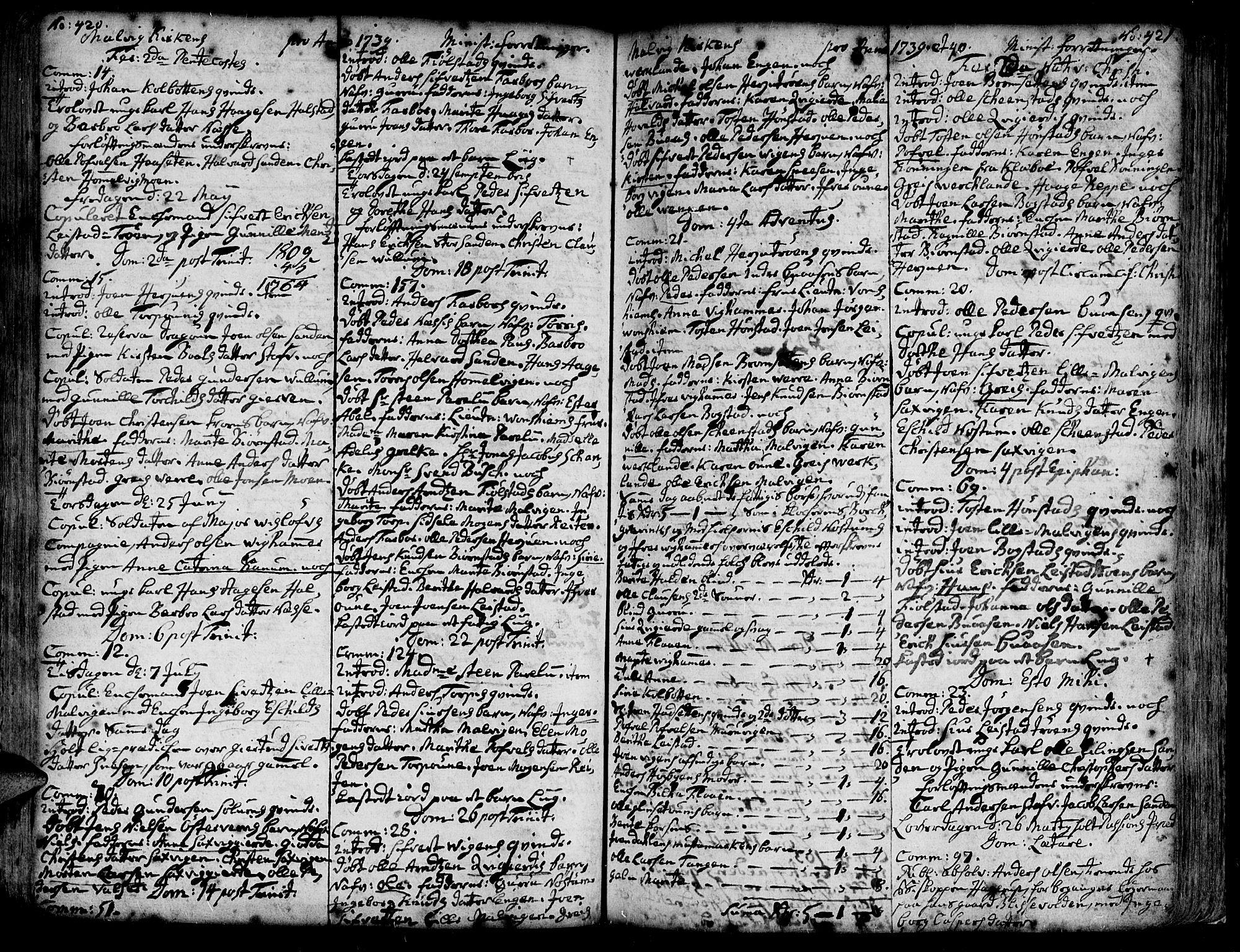 SAT, Ministerialprotokoller, klokkerbøker og fødselsregistre - Sør-Trøndelag, 606/L0277: Ministerialbok nr. 606A01 /3, 1727-1780, s. 420-421