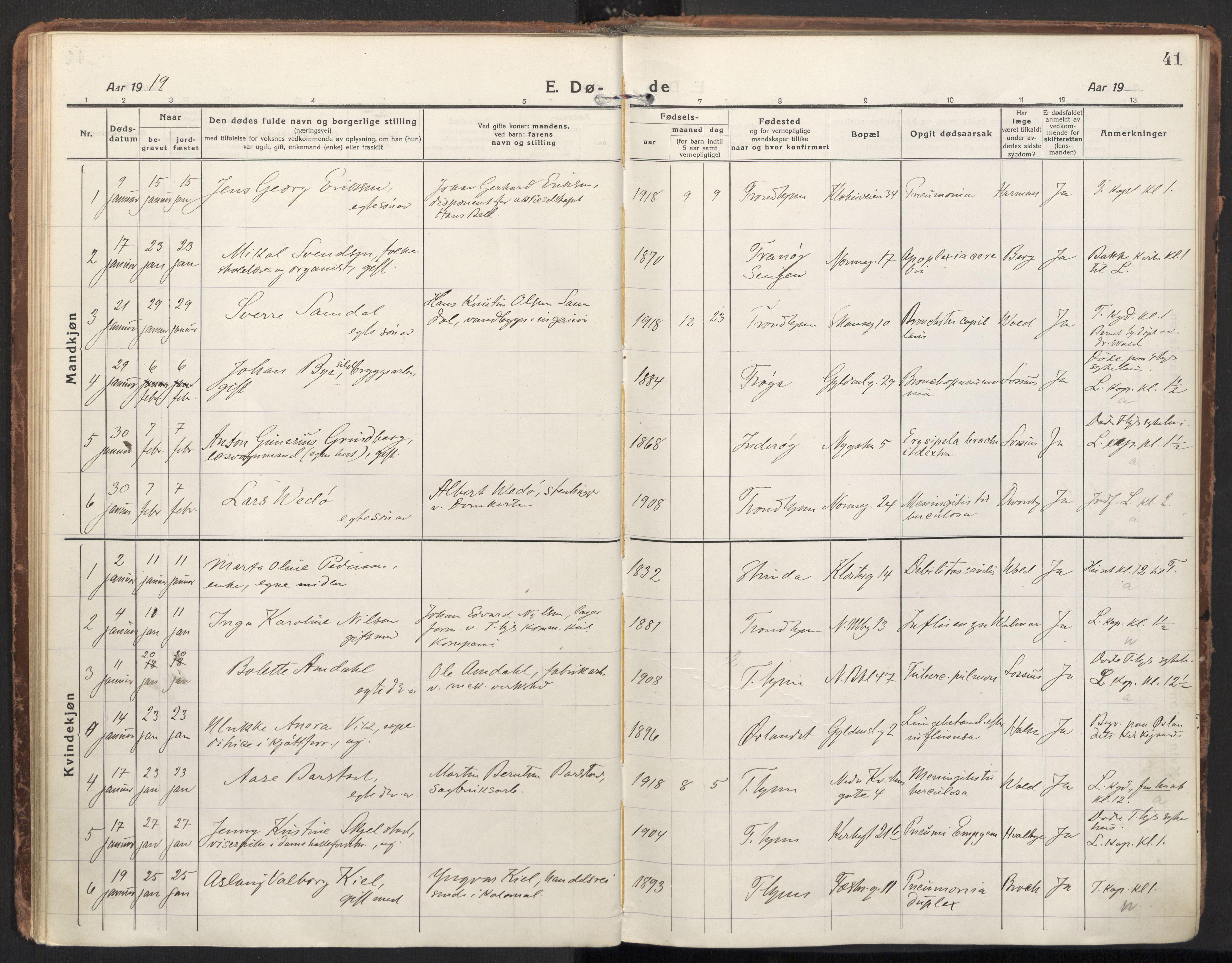 SAT, Ministerialprotokoller, klokkerbøker og fødselsregistre - Sør-Trøndelag, 604/L0207: Ministerialbok nr. 604A27, 1917-1933, s. 41