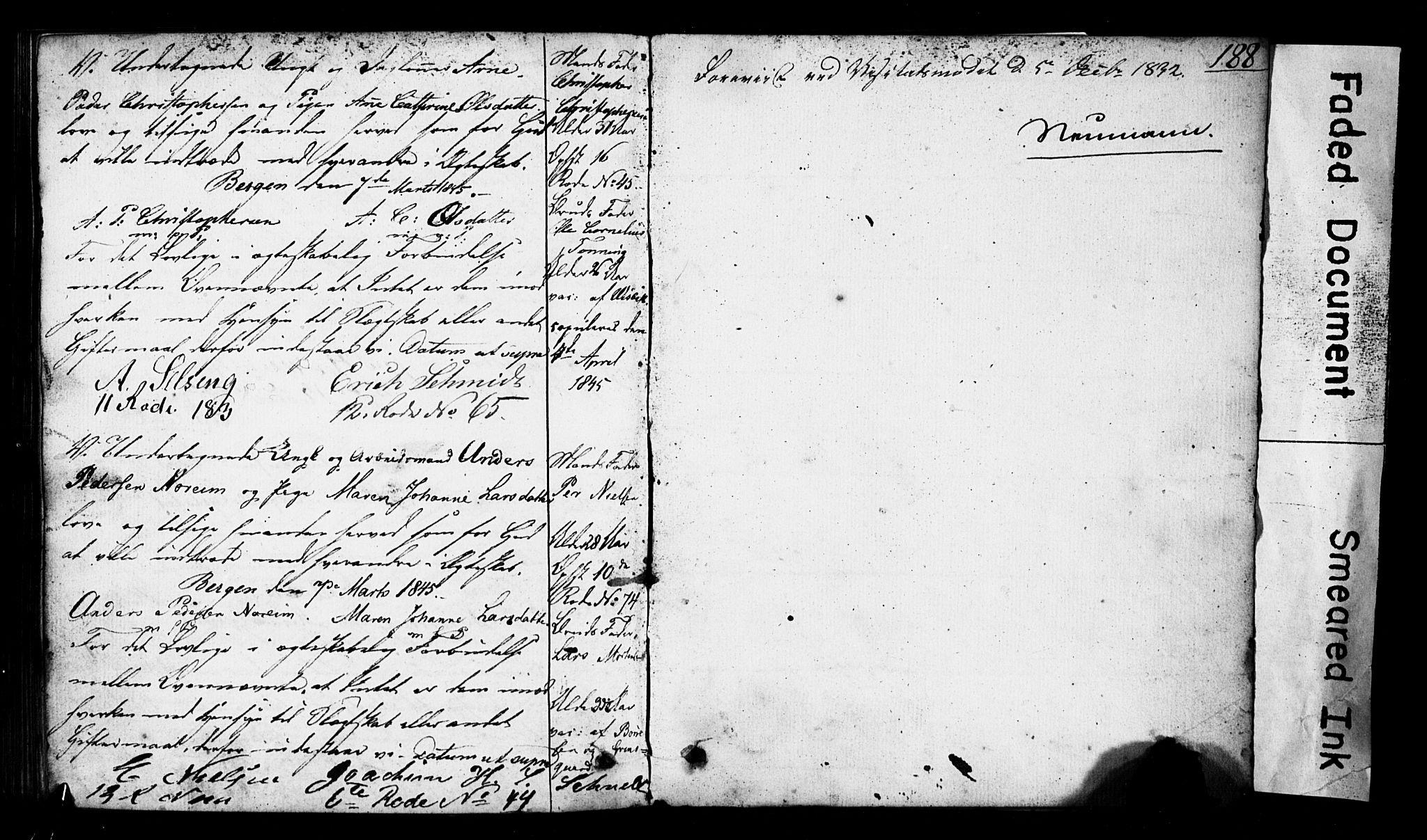 SAB, Domkirken Sokneprestembete, Forlovererklæringer nr. II.5.3, 1832-1845, s. 188