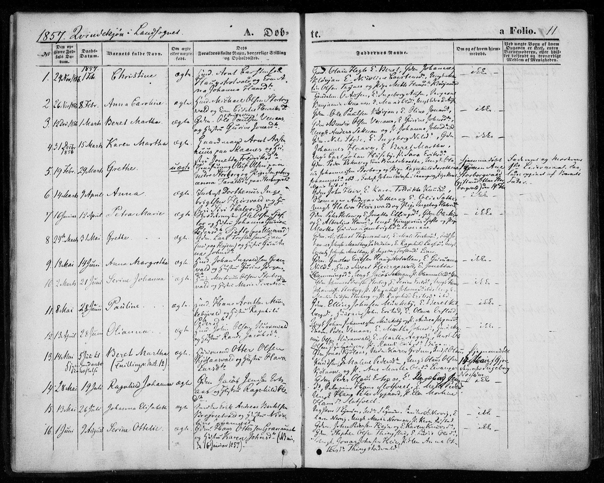 SAT, Ministerialprotokoller, klokkerbøker og fødselsregistre - Nord-Trøndelag, 720/L0184: Ministerialbok nr. 720A02 /2, 1855-1863, s. 11