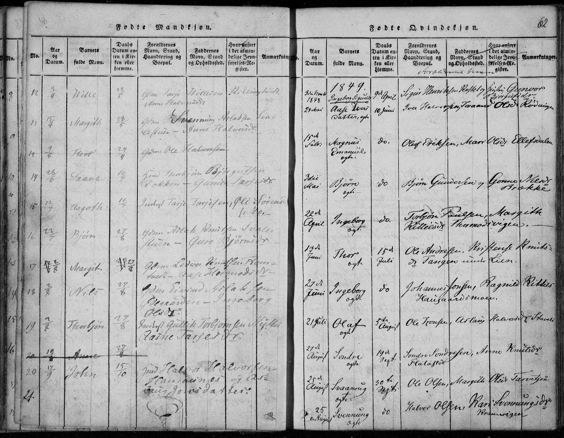 SAKO, Rauland kirkebøker, F/Fa/L0001: Ministerialbok nr. 1, 1814-1859, s. 62