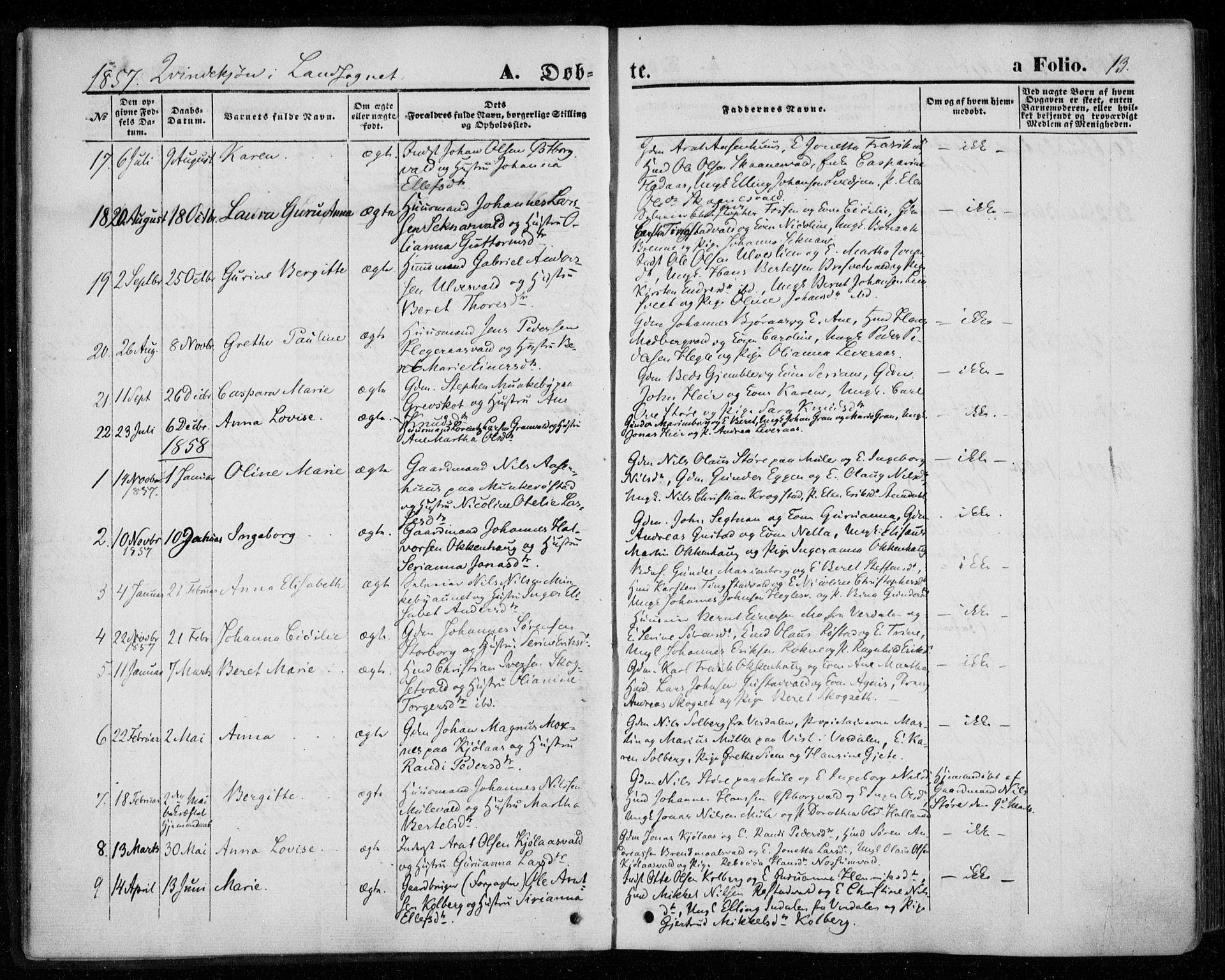 SAT, Ministerialprotokoller, klokkerbøker og fødselsregistre - Nord-Trøndelag, 720/L0184: Ministerialbok nr. 720A02 /2, 1855-1863, s. 13
