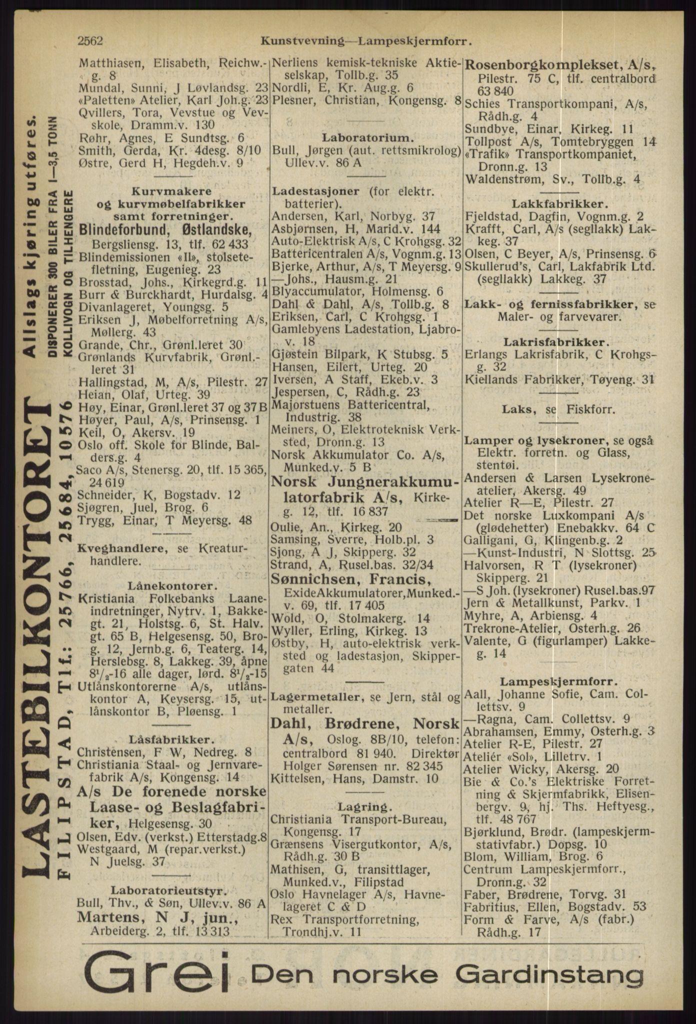 RA, Oslo adressebok (publikasjon)*, 1936, s. 2562
