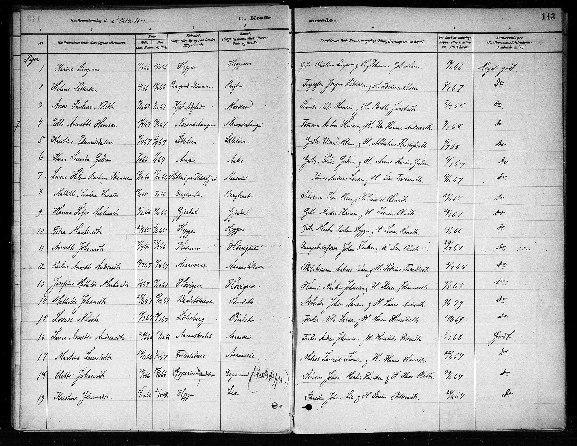 SAKO, Røyken kirkebøker, F/Fa/L0008: Ministerialbok nr. 8, 1880-1897, s. 143