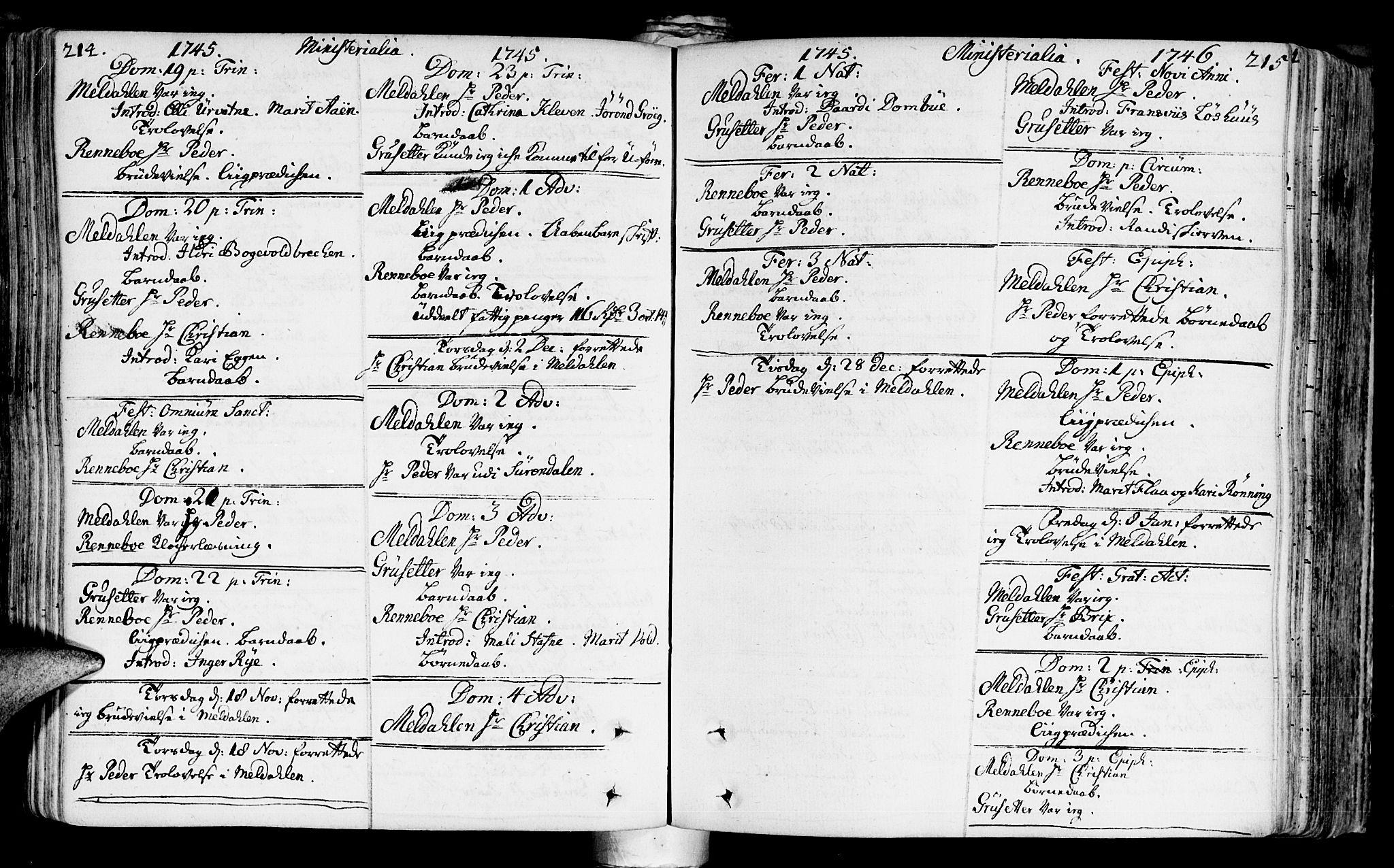 SAT, Ministerialprotokoller, klokkerbøker og fødselsregistre - Sør-Trøndelag, 672/L0850: Ministerialbok nr. 672A03, 1725-1751, s. 214-215
