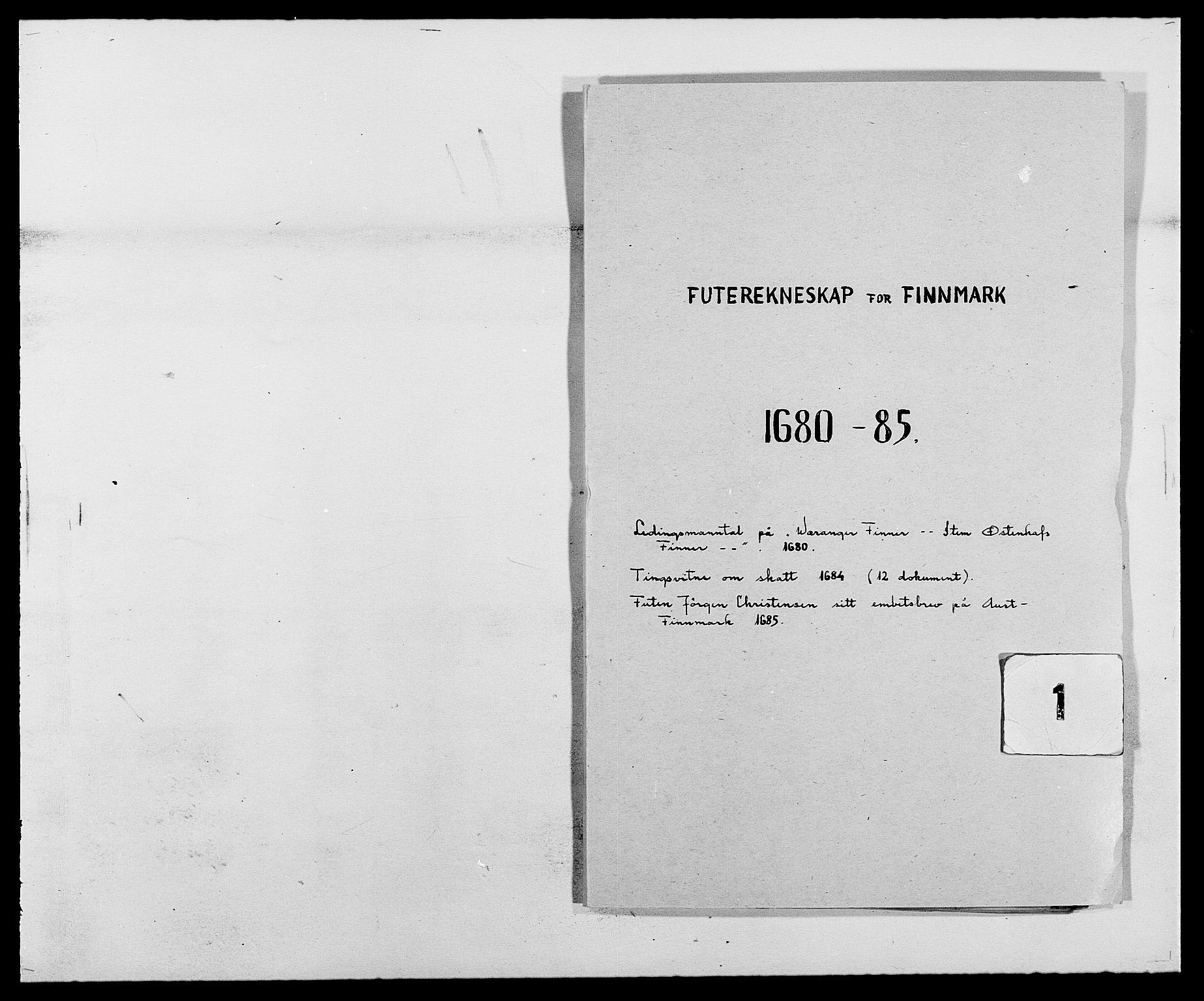 RA, Rentekammeret inntil 1814, Reviderte regnskaper, Fogderegnskap, R69/L4850: Fogderegnskap Finnmark/Vardøhus, 1680-1690, s. 1