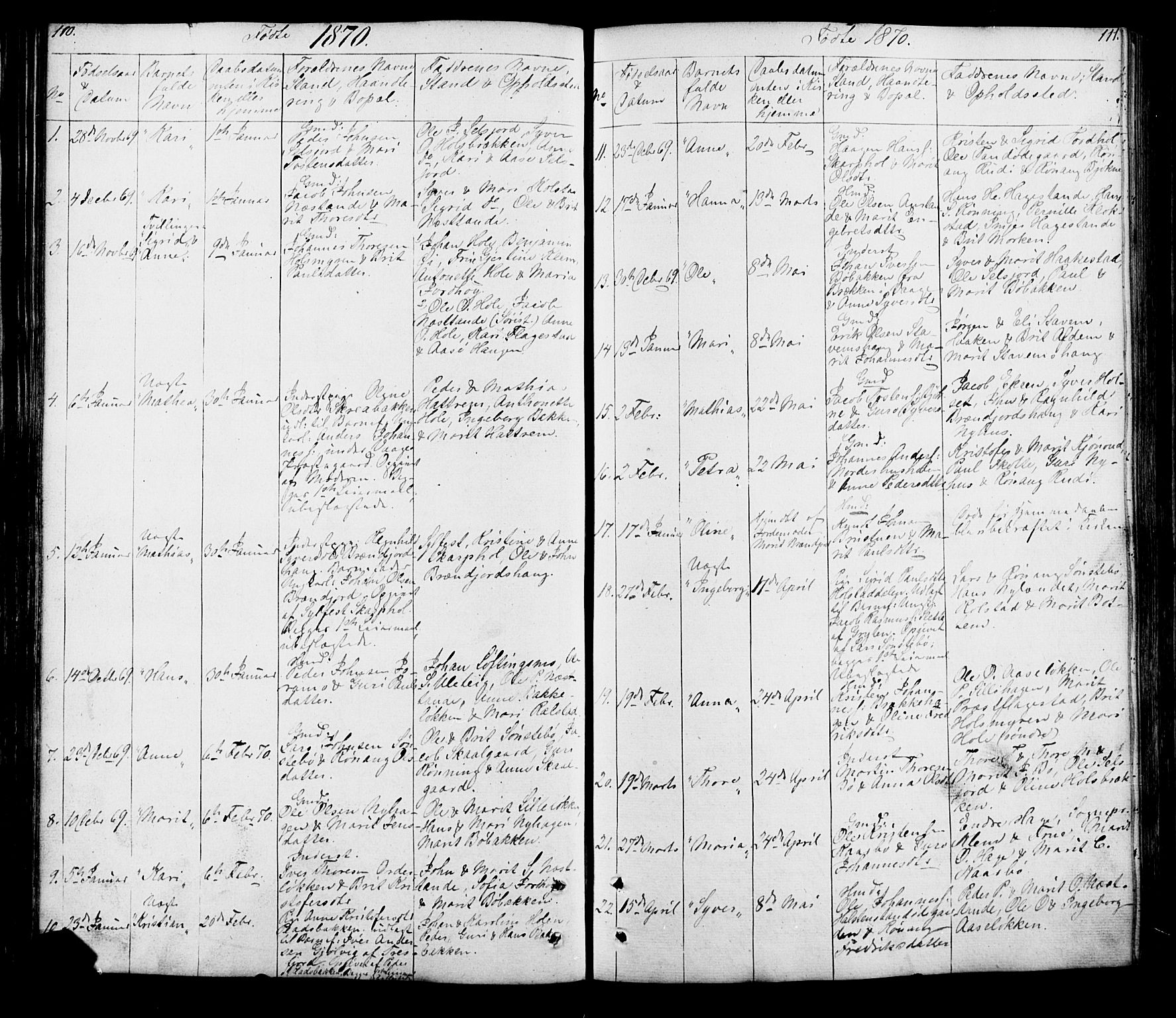 SAH, Lesja prestekontor, Klokkerbok nr. 5, 1850-1894, s. 110-111