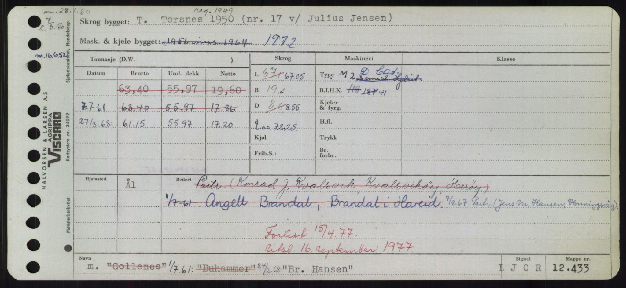 RA, Sjøfartsdirektoratet med forløpere, Skipsmålingen, H/Hd/L0005: Fartøy, Br-Byg, s. 1