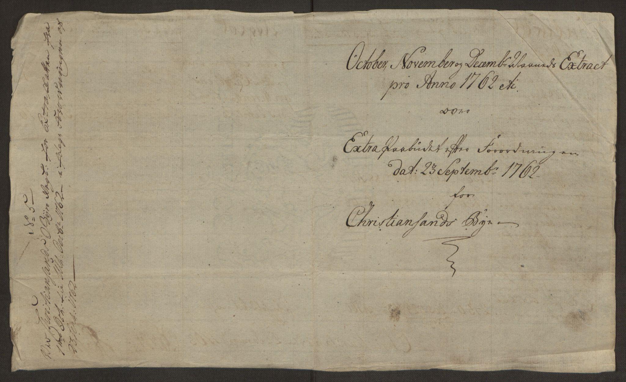 RA, Rentekammeret inntil 1814, Reviderte regnskaper, Byregnskaper, R/Rm/L0265: [M6] Kontribusjonsregnskap, 1762-1764, s. 69
