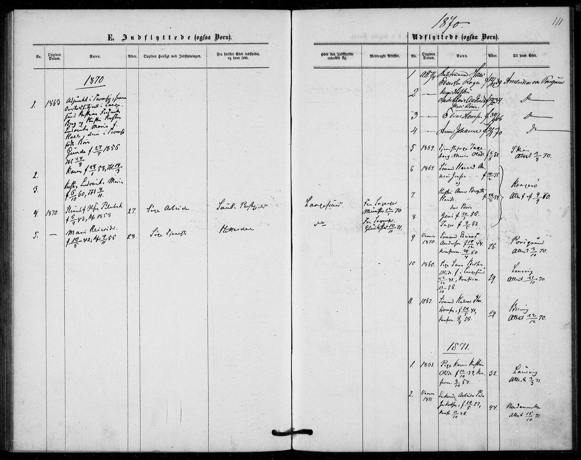 SAKO, Langesund kirkebøker, F/Fa/L0001: Ministerialbok nr. 1, 1870-1877, s. 111