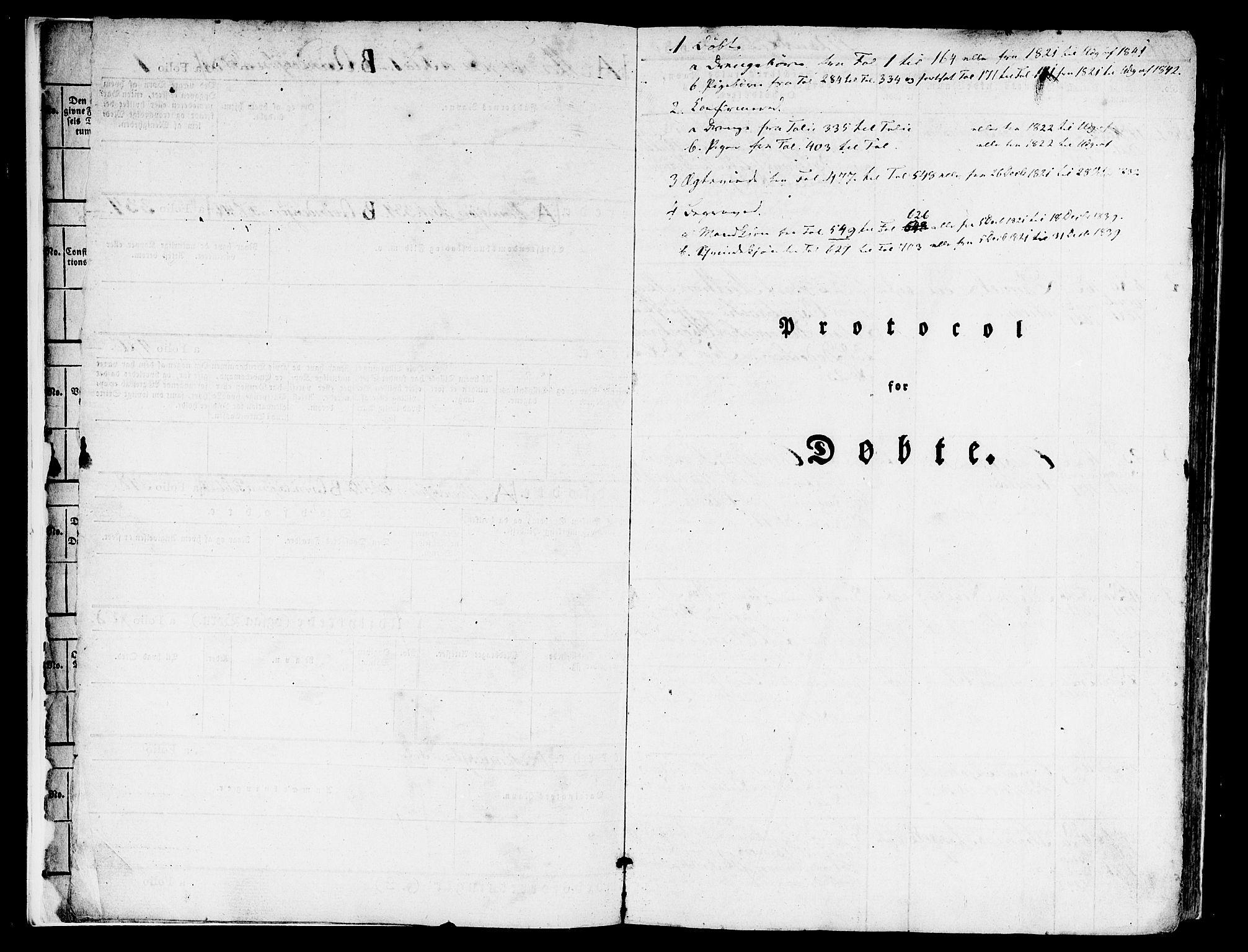 SAB, Nykirken Sokneprestembete, H/Hab: Klokkerbok nr. A 5I, 1821-1841
