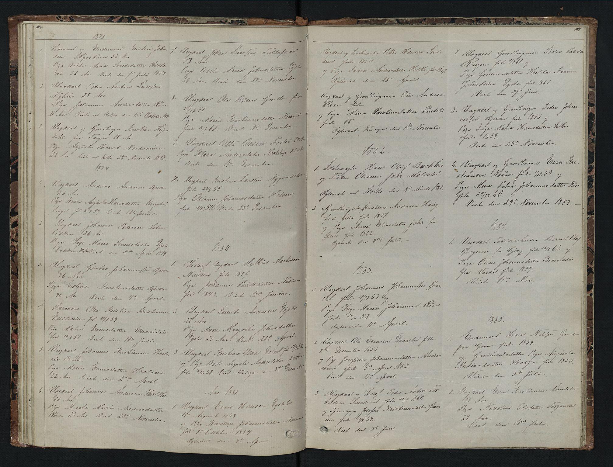 SAH, Vestre Toten prestekontor, Klokkerbok nr. 7, 1872-1900, s. 106-107