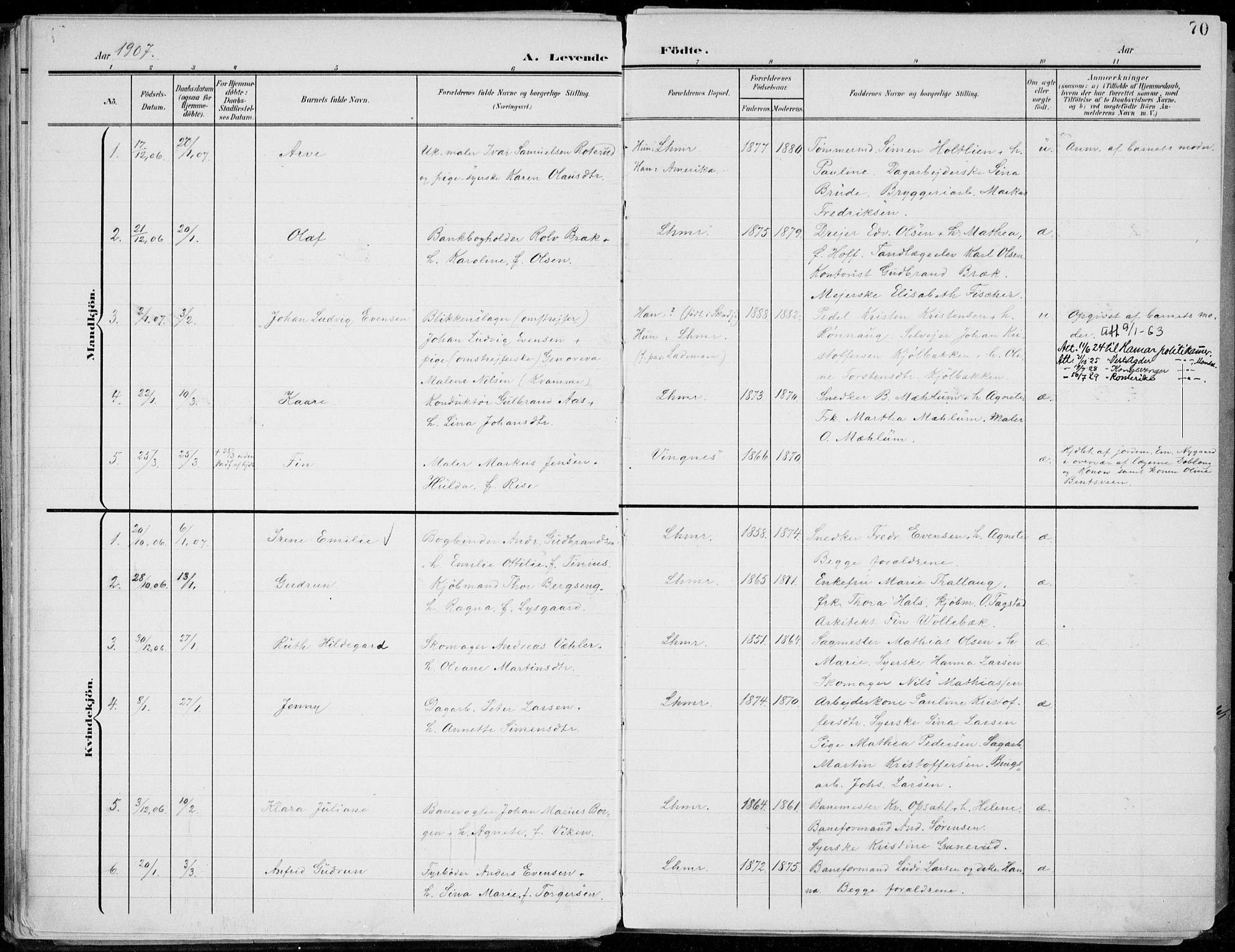 SAH, Lillehammer prestekontor, Ministerialbok nr. 1, 1901-1916, s. 70