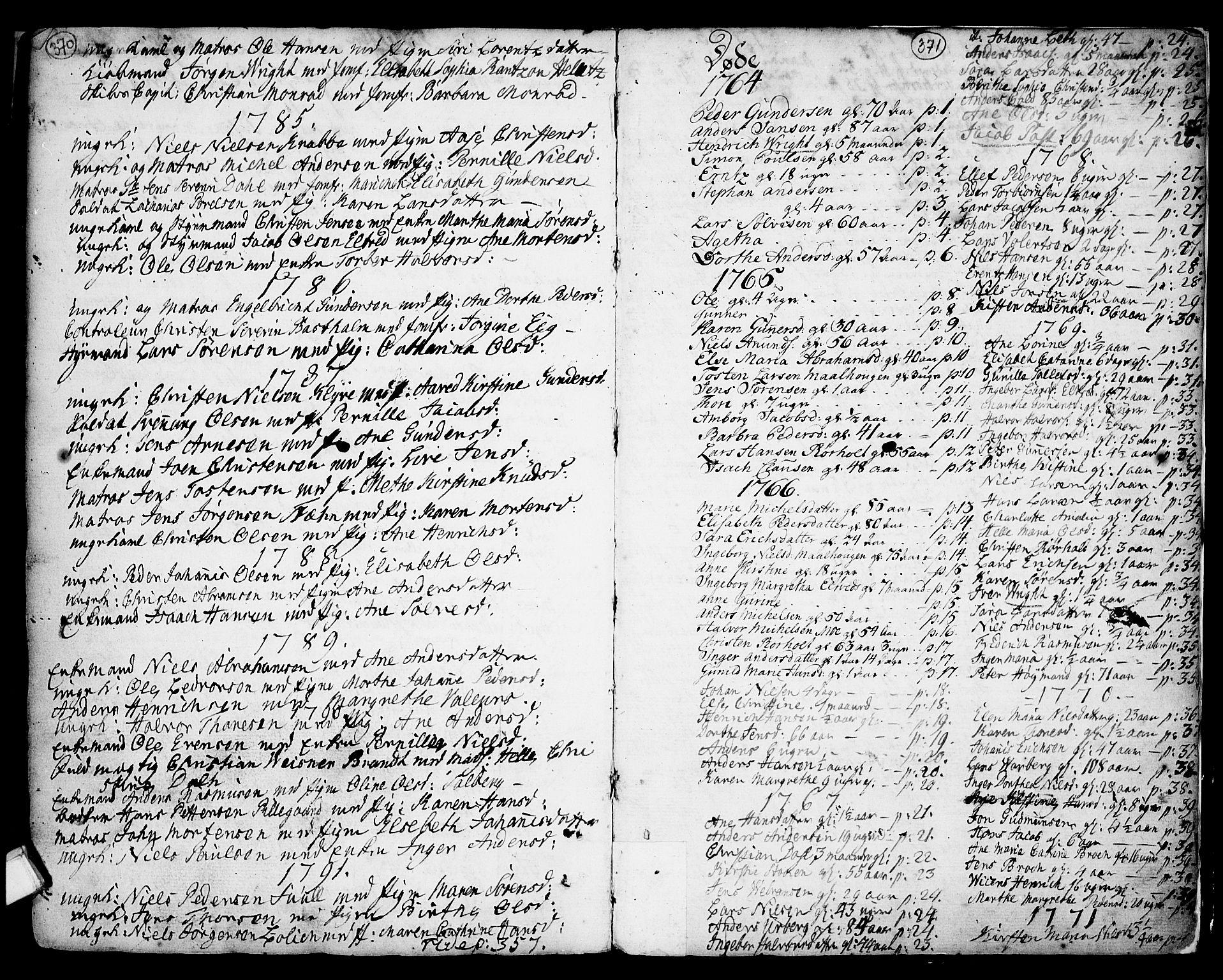 SAKO, Porsgrunn kirkebøker , F/Fa/L0001: Ministerialbok nr. 1, 1764-1814, s. 370-371