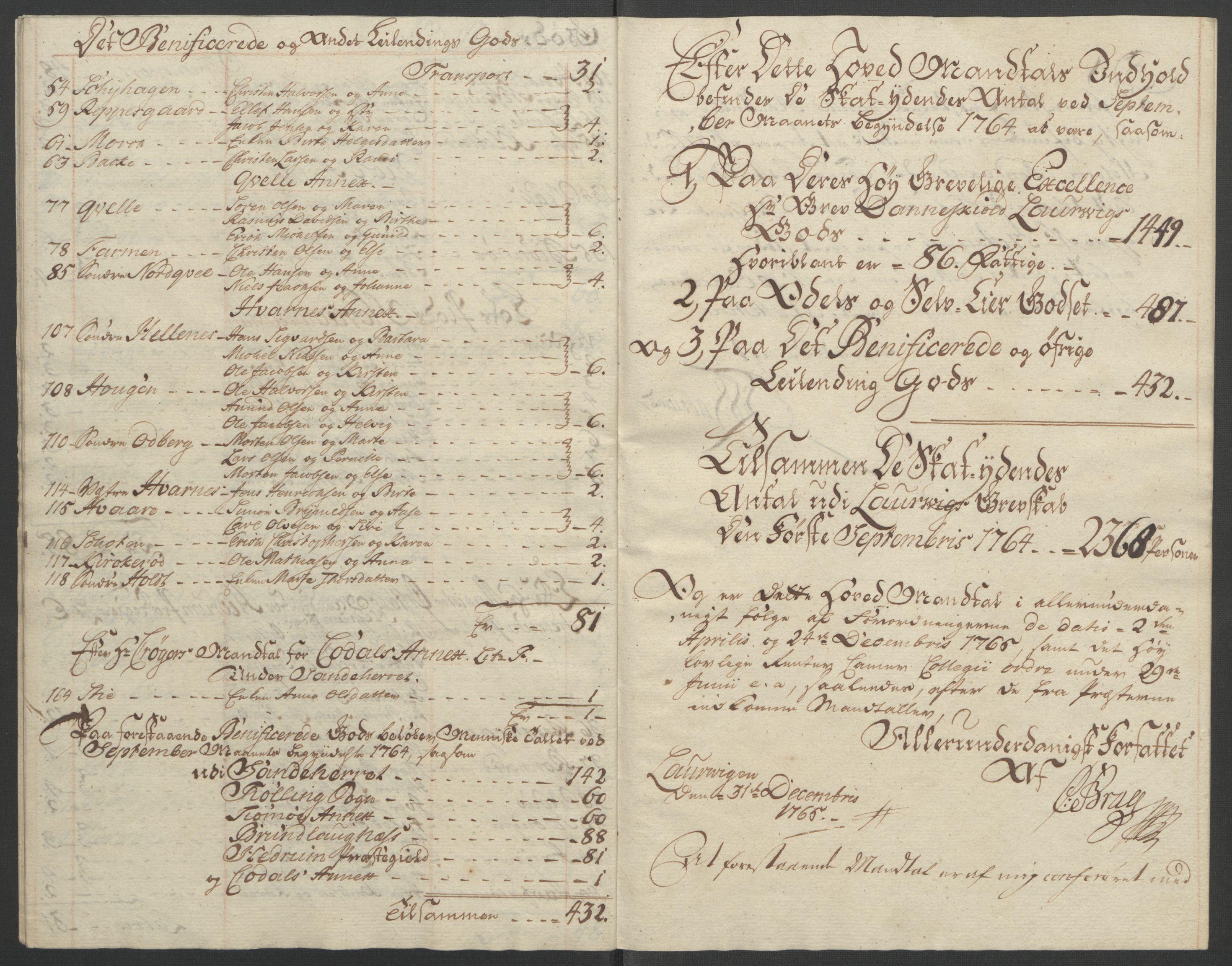 RA, Rentekammeret inntil 1814, Reviderte regnskaper, Fogderegnskap, R33/L2033: Ekstraskatten Larvik grevskap, 1762-1764, s. 564