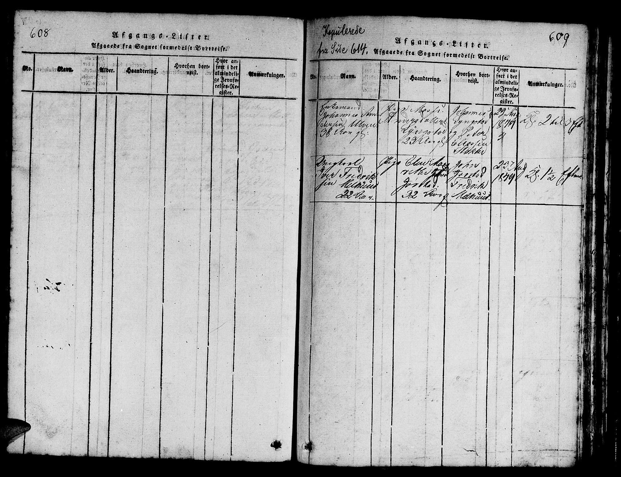 SAT, Ministerialprotokoller, klokkerbøker og fødselsregistre - Nord-Trøndelag, 730/L0298: Klokkerbok nr. 730C01, 1816-1849, s. 608-609
