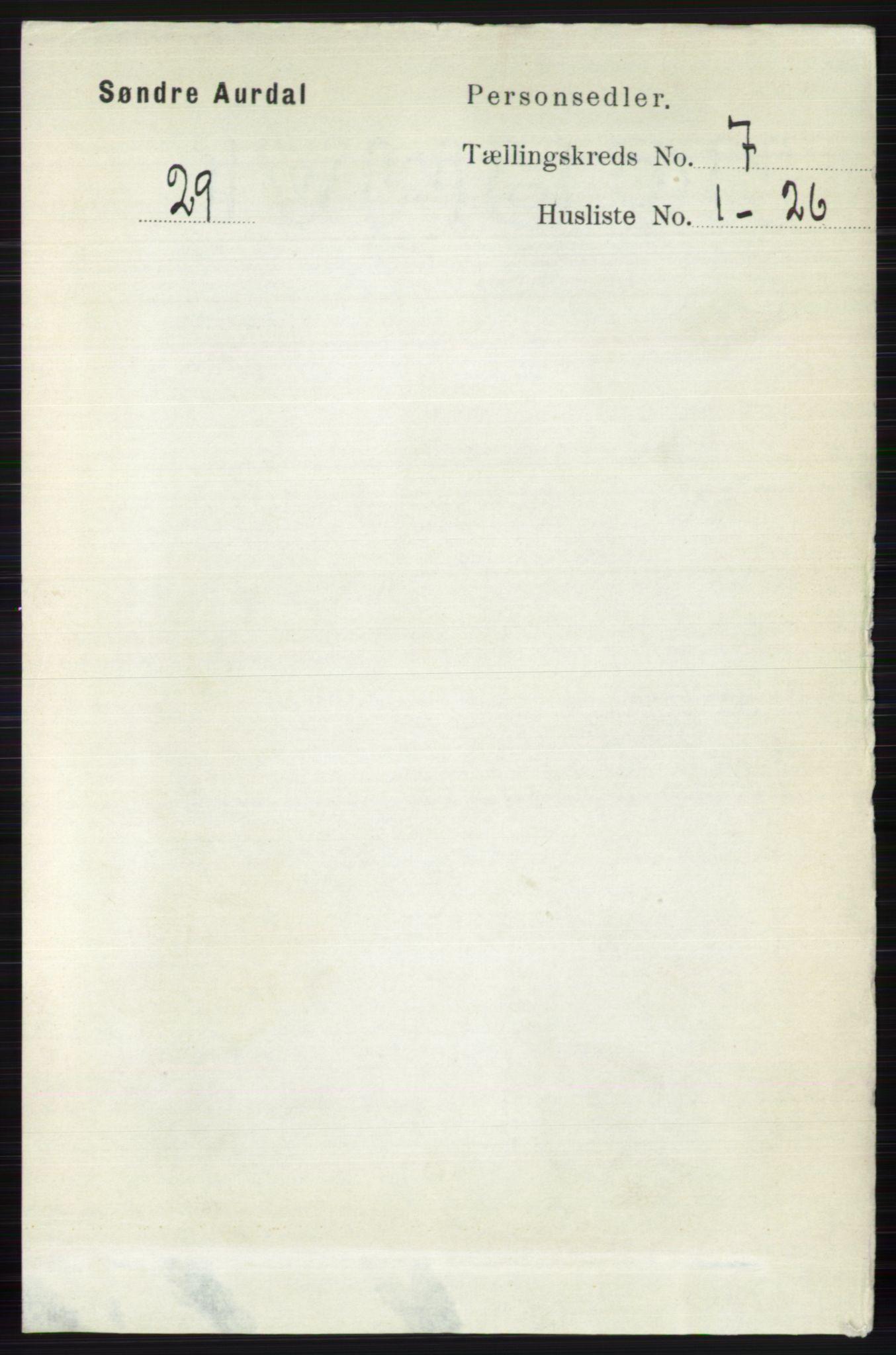 RA, Folketelling 1891 for 0540 Sør-Aurdal herred, 1891, s. 4397