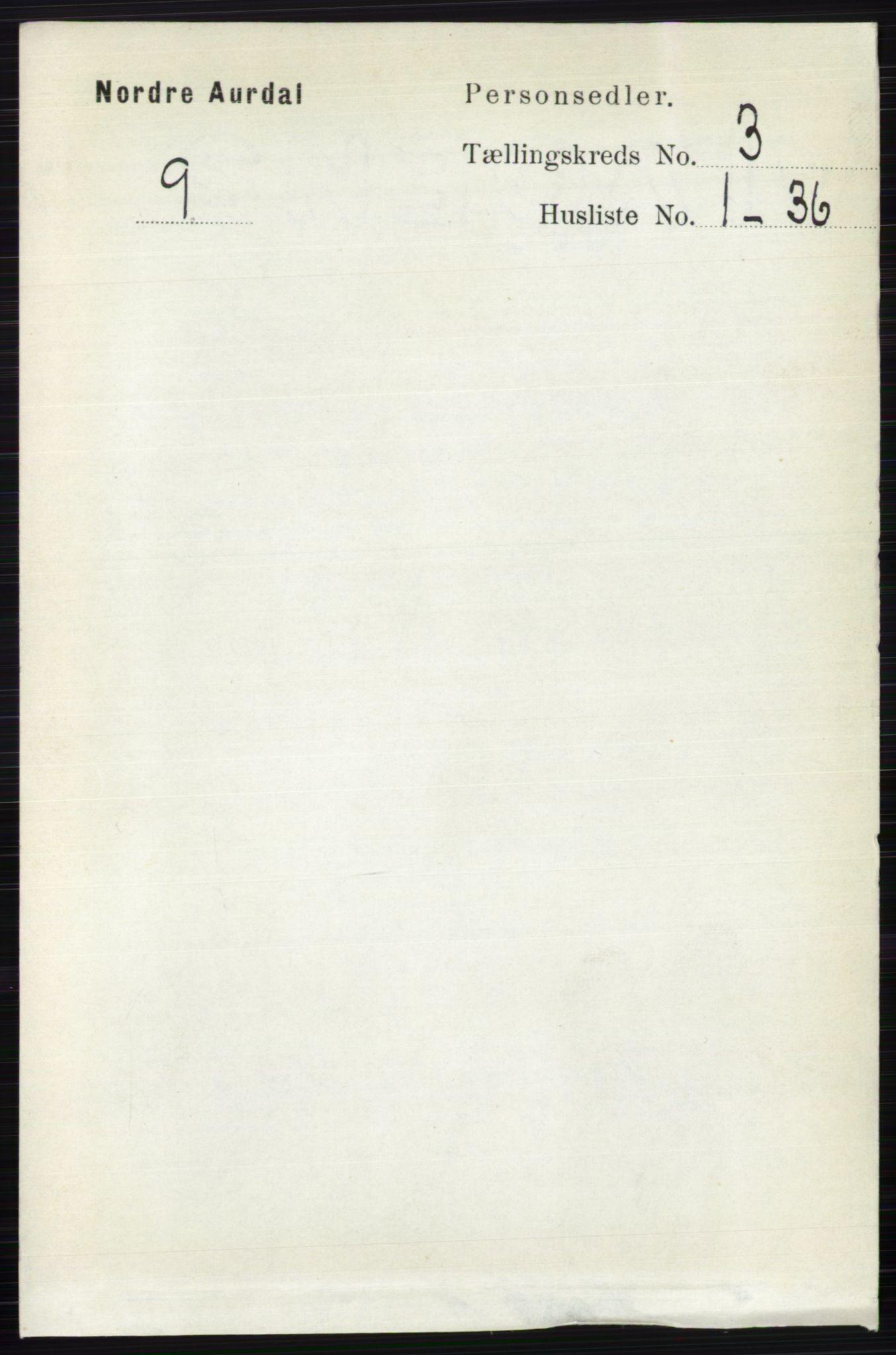 RA, Folketelling 1891 for 0542 Nord-Aurdal herred, 1891, s. 956