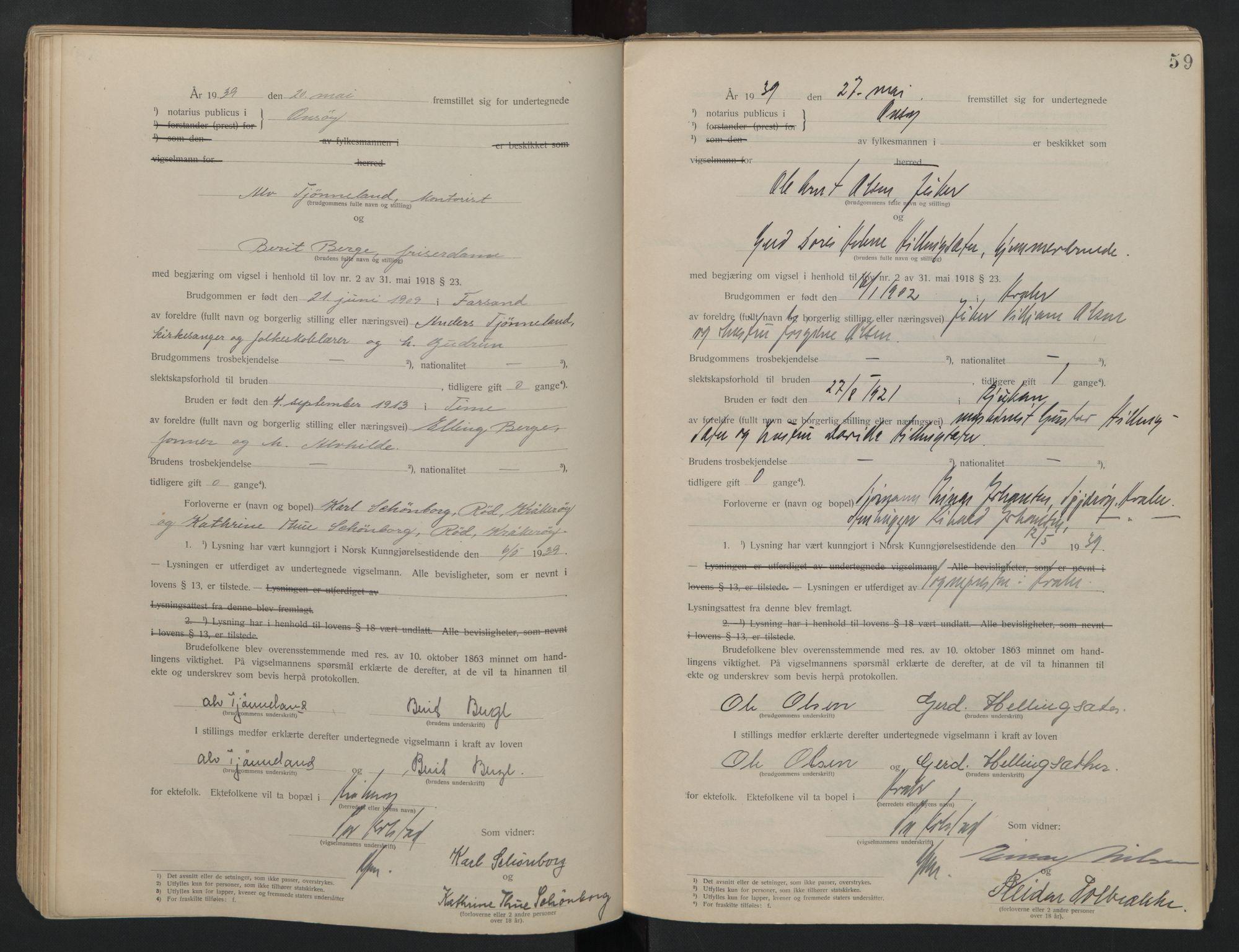 SAO, Onsøy sorenskriveri, L/La/L0001: Vigselsbok, 1920-1942, s. 59