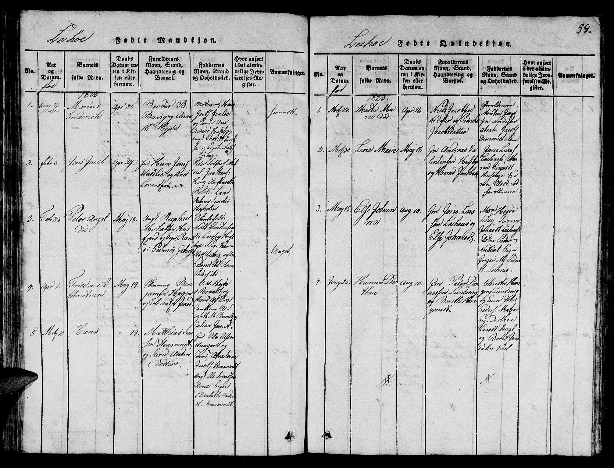 SAT, Ministerialprotokoller, klokkerbøker og fødselsregistre - Nord-Trøndelag, 780/L0648: Klokkerbok nr. 780C01 /2, 1815-1875, s. 59