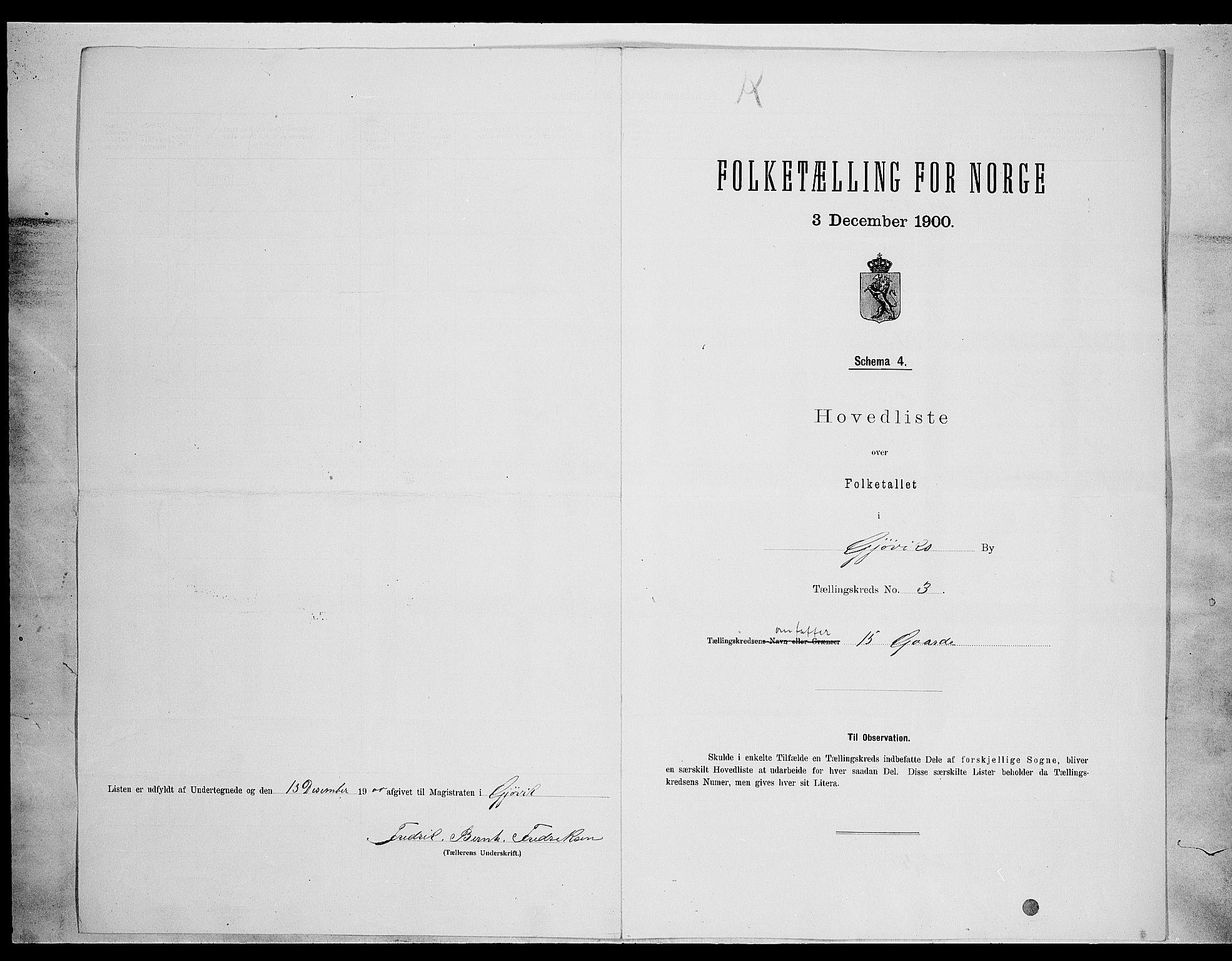 SAH, Folketelling 1900 for 0502 Gjøvik kjøpstad, 1900, s. 19