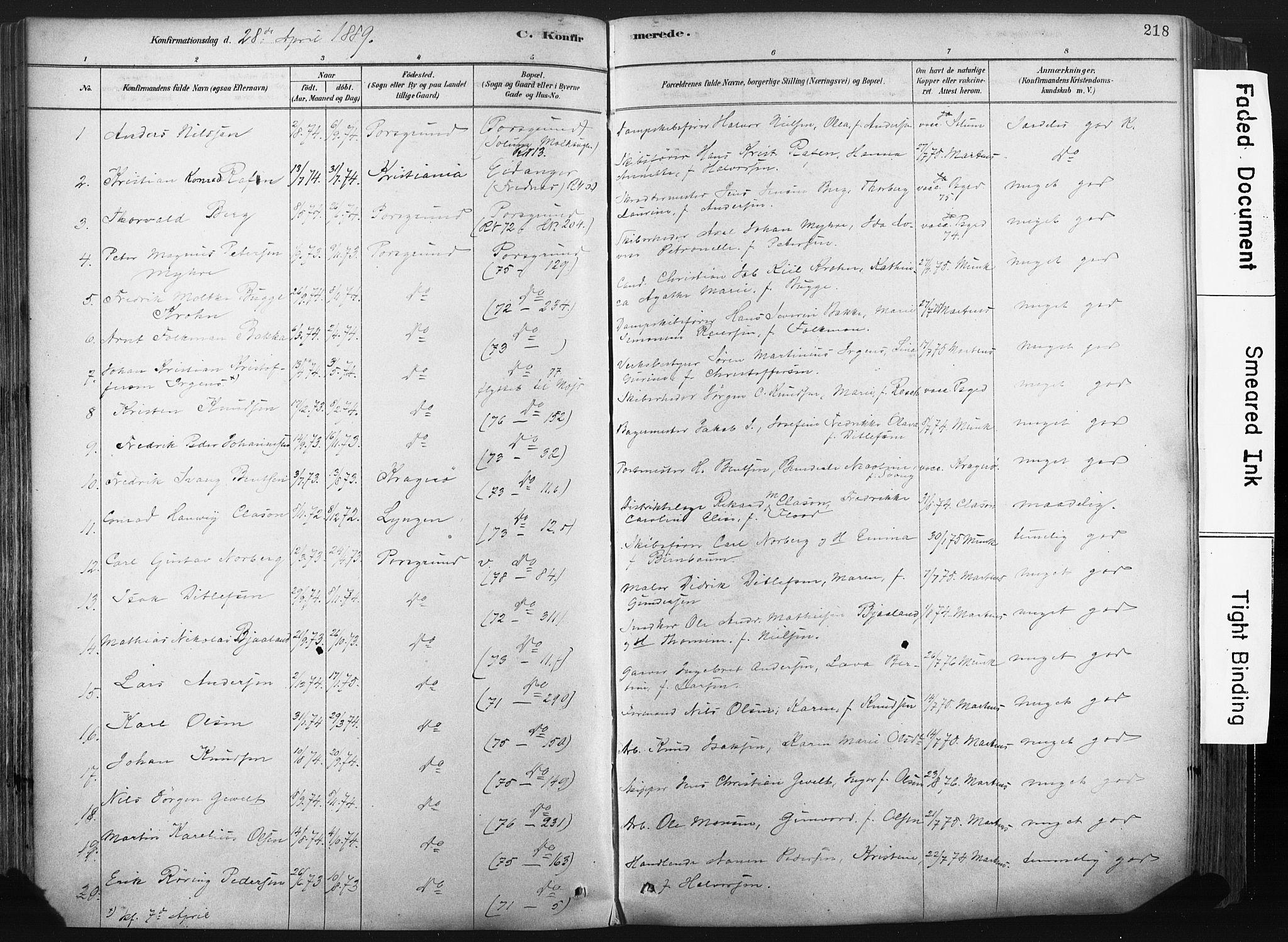 SAKO, Porsgrunn kirkebøker , F/Fa/L0008: Ministerialbok nr. 8, 1878-1895, s. 218