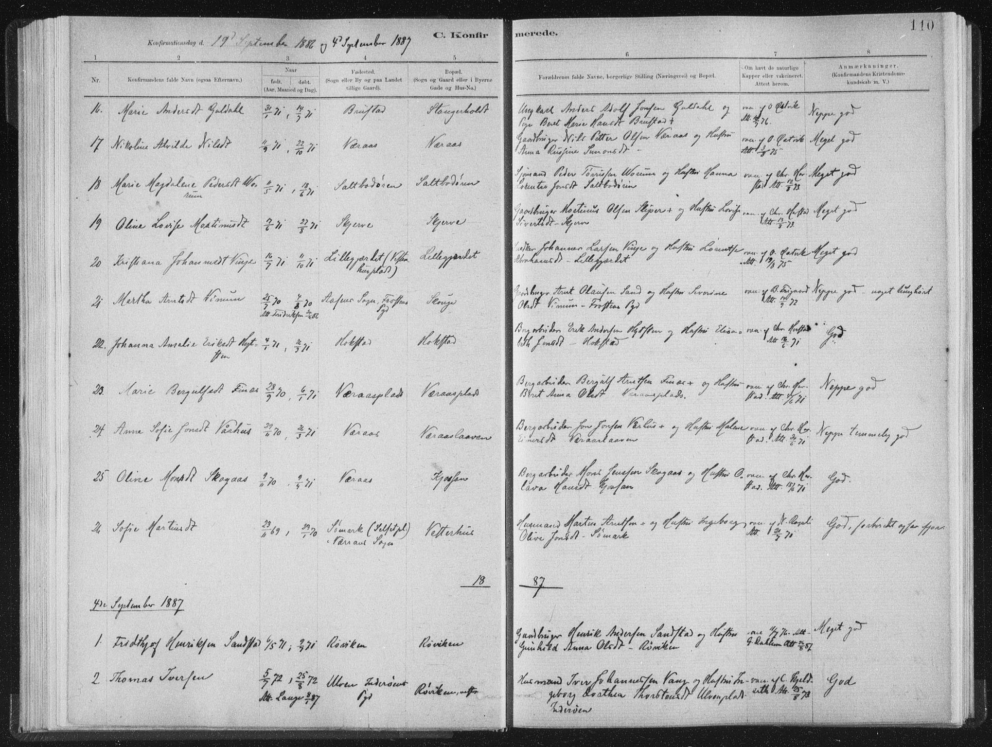 SAT, Ministerialprotokoller, klokkerbøker og fødselsregistre - Nord-Trøndelag, 722/L0220: Ministerialbok nr. 722A07, 1881-1908, s. 110