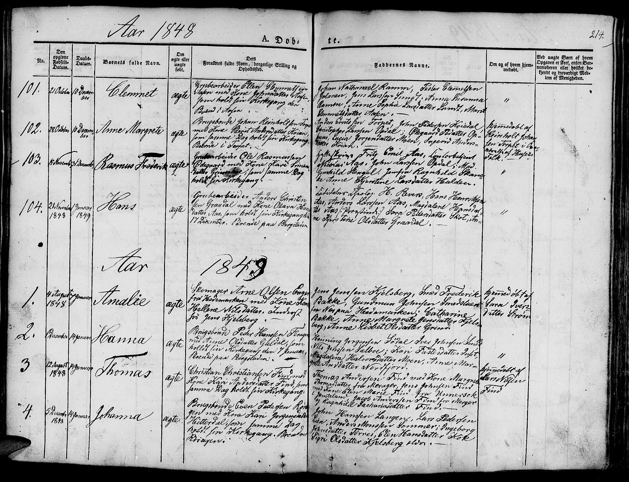 SAT, Ministerialprotokoller, klokkerbøker og fødselsregistre - Sør-Trøndelag, 681/L0938: Klokkerbok nr. 681C02, 1829-1879, s. 214
