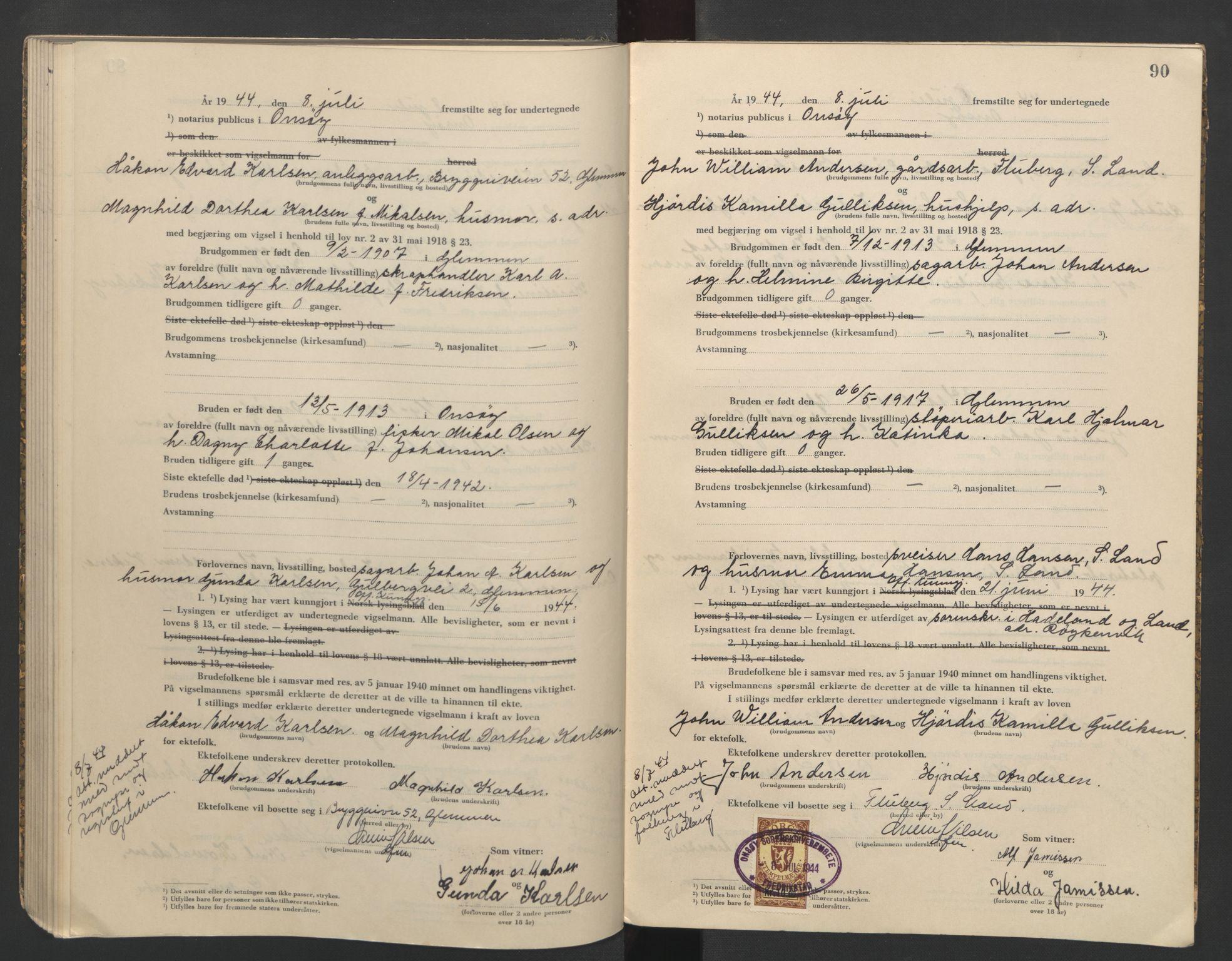 SAO, Onsøy sorenskriveri, L/La/L0004: Vigselsbok, 1943-1944, s. 90