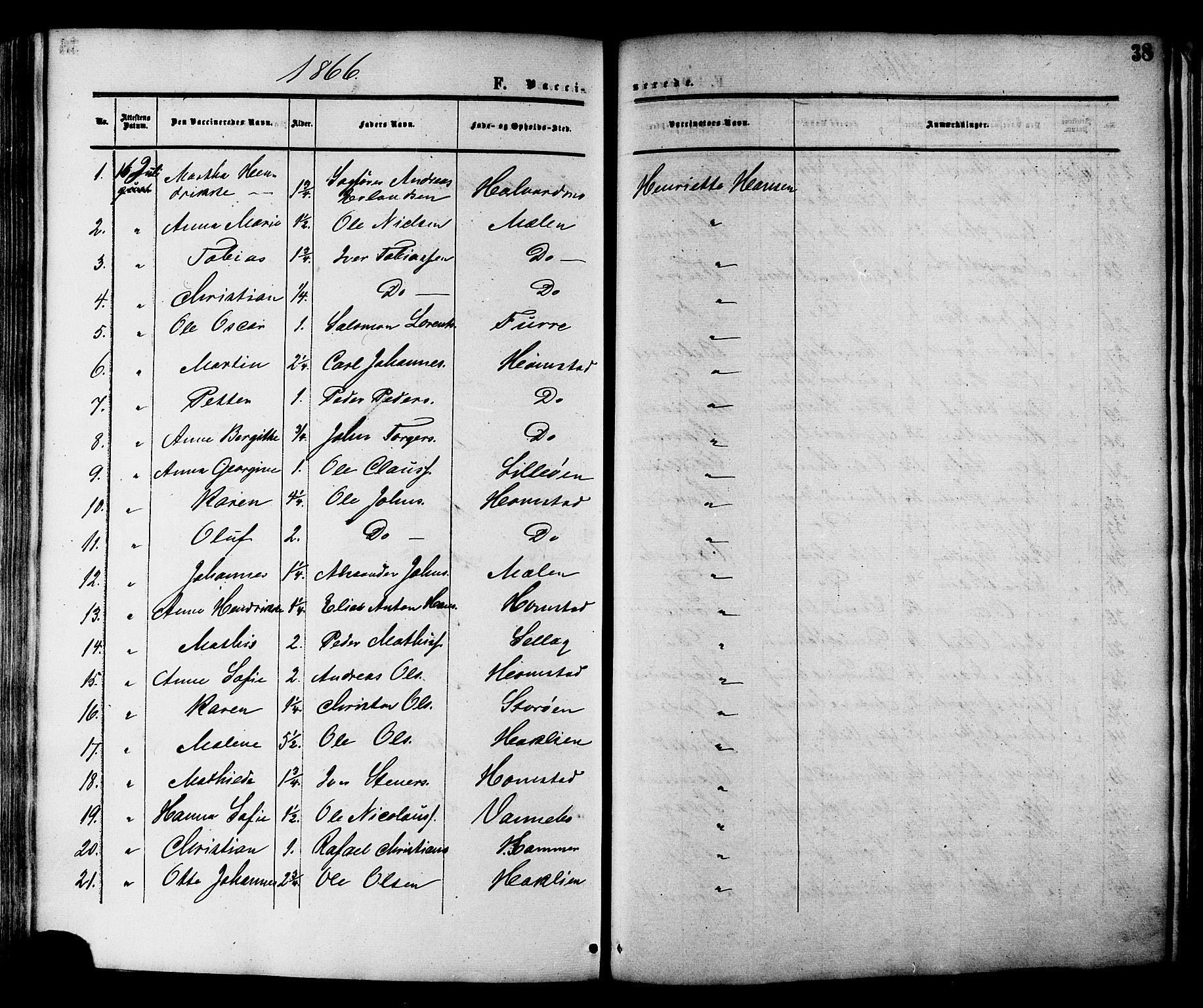 SAT, Ministerialprotokoller, klokkerbøker og fødselsregistre - Nord-Trøndelag, 764/L0553: Ministerialbok nr. 764A08, 1858-1880, s. 38
