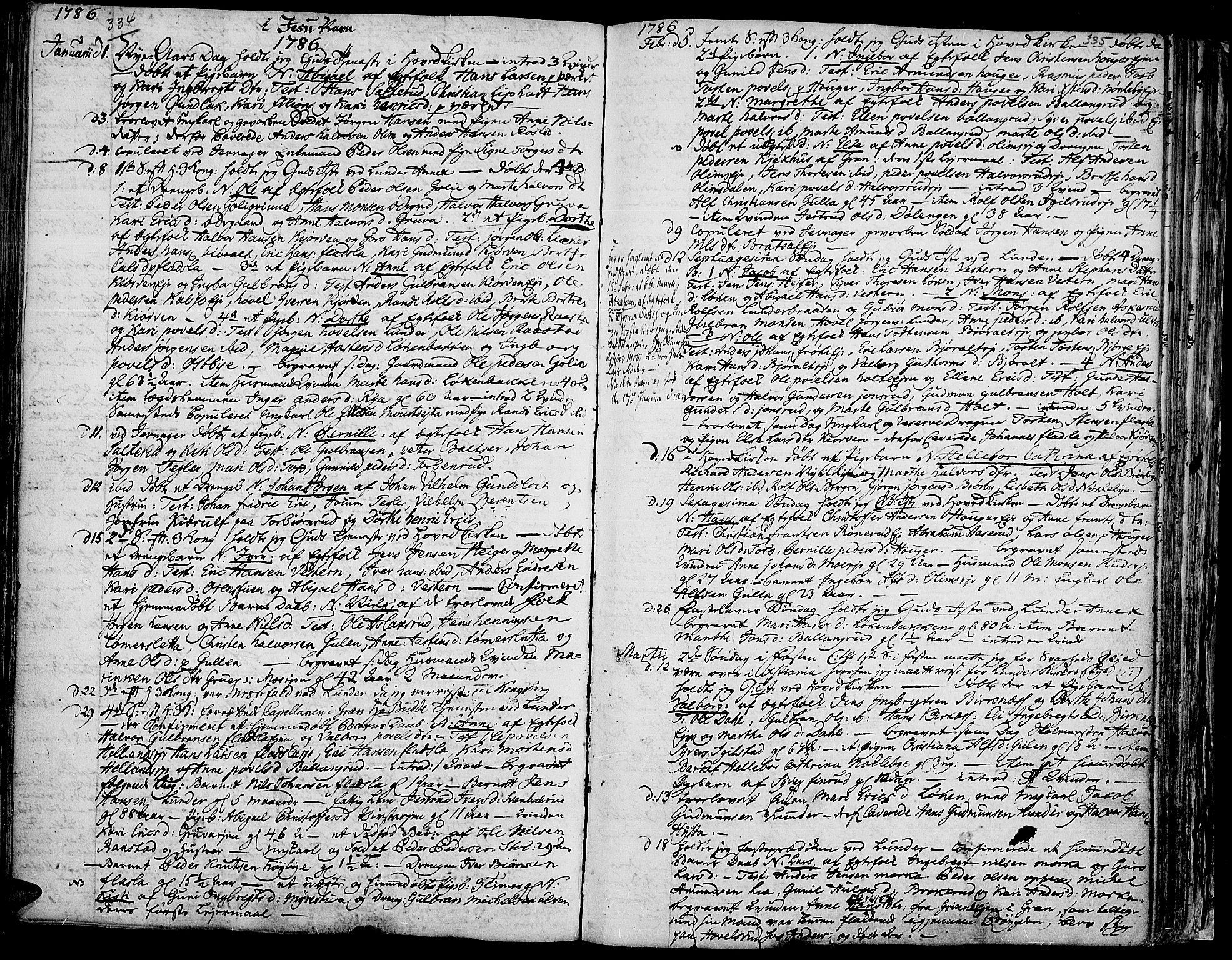 SAH, Jevnaker prestekontor, Ministerialbok nr. 3, 1752-1799, s. 334-335