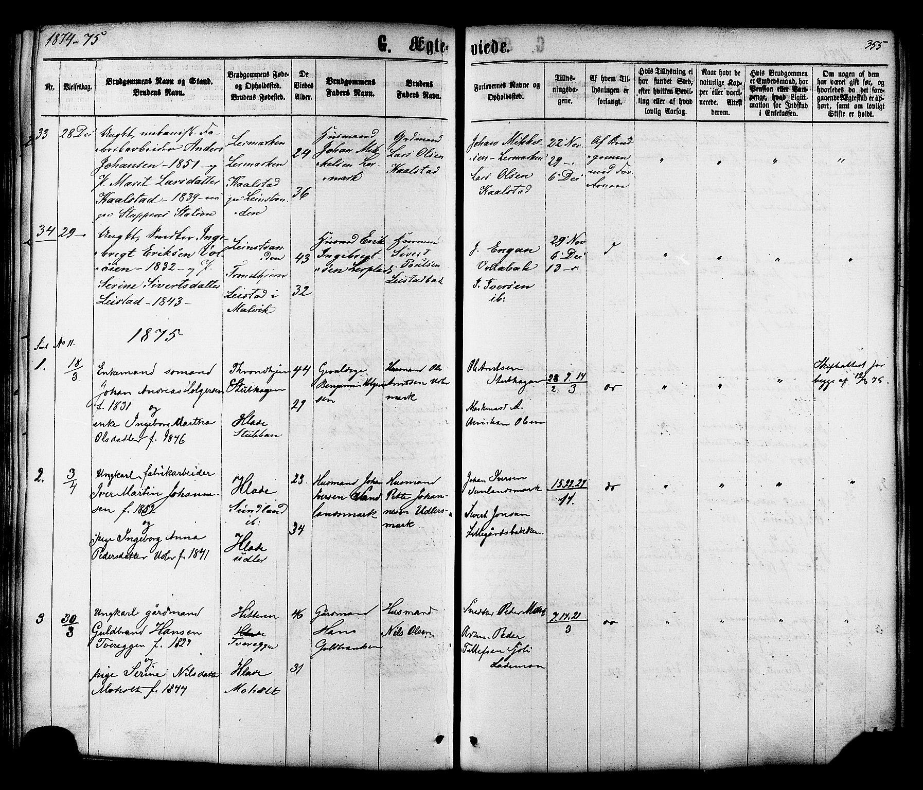 SAT, Ministerialprotokoller, klokkerbøker og fødselsregistre - Sør-Trøndelag, 606/L0293: Ministerialbok nr. 606A08, 1866-1877, s. 355