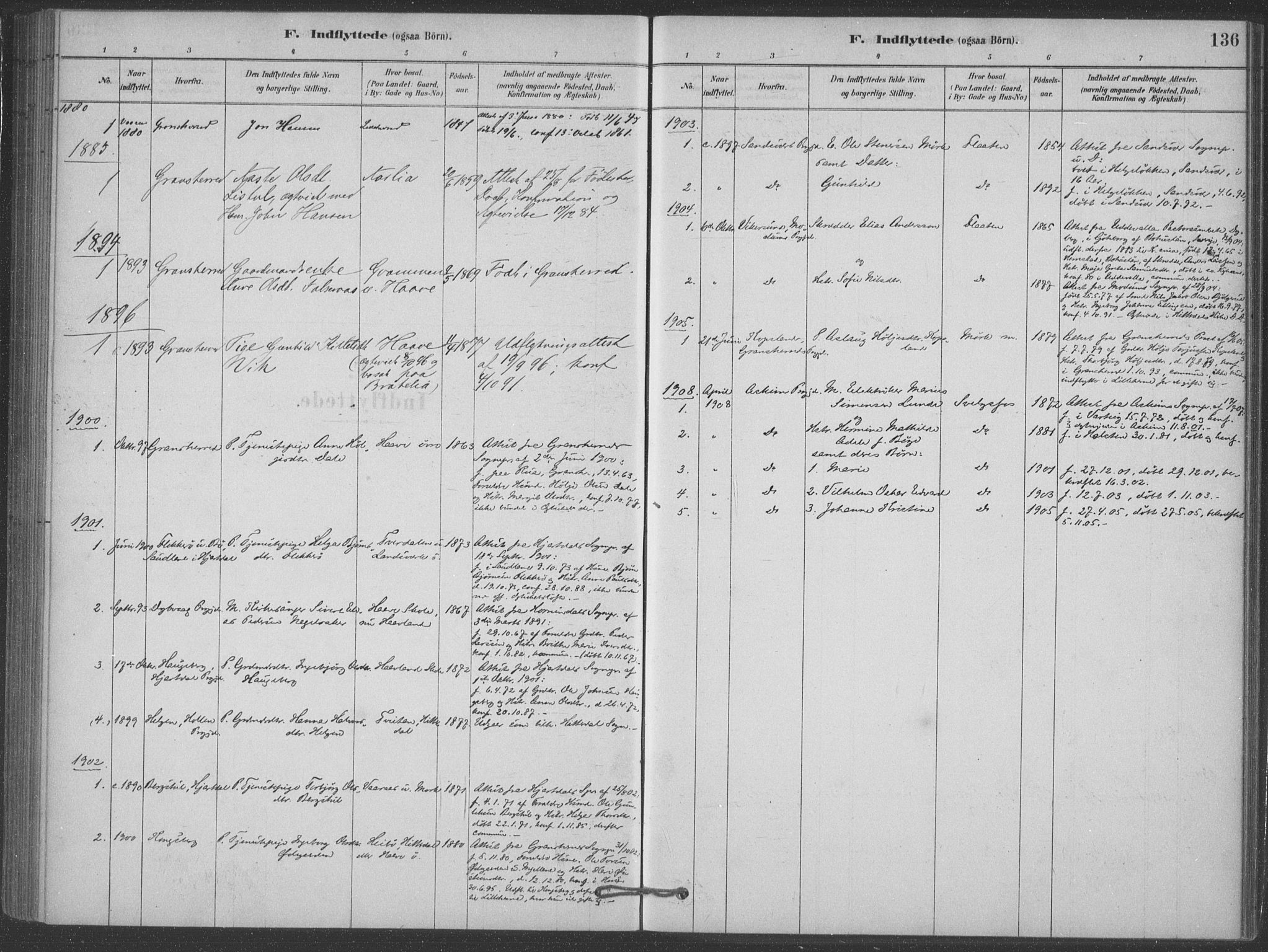 SAKO, Heddal kirkebøker, F/Fb/L0002: Ministerialbok nr. II 2, 1878-1913, s. 136