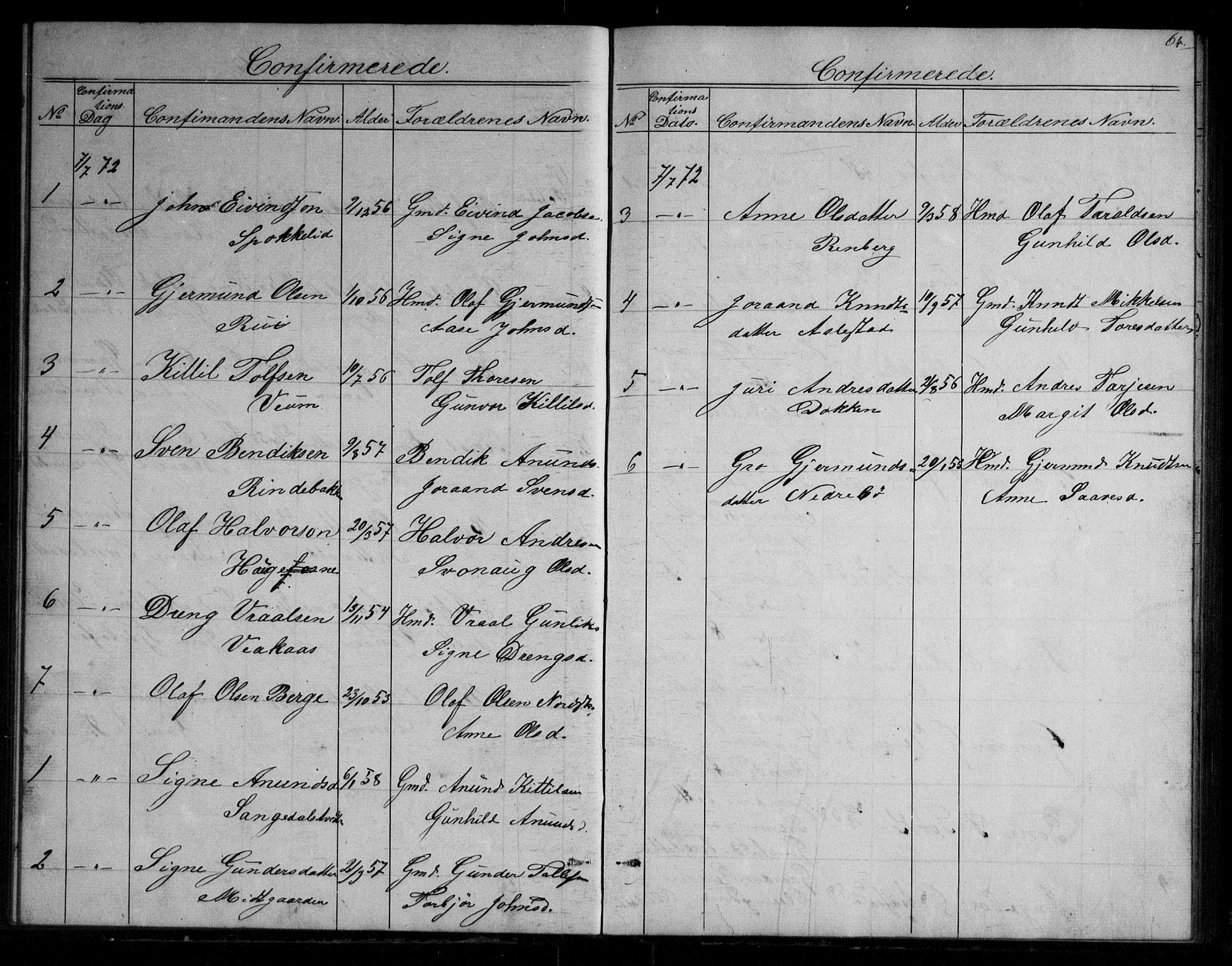 SAKO, Fyresdal kirkebøker, G/Gb/L0001: Klokkerbok nr. II 1, 1864-1890, s. 64