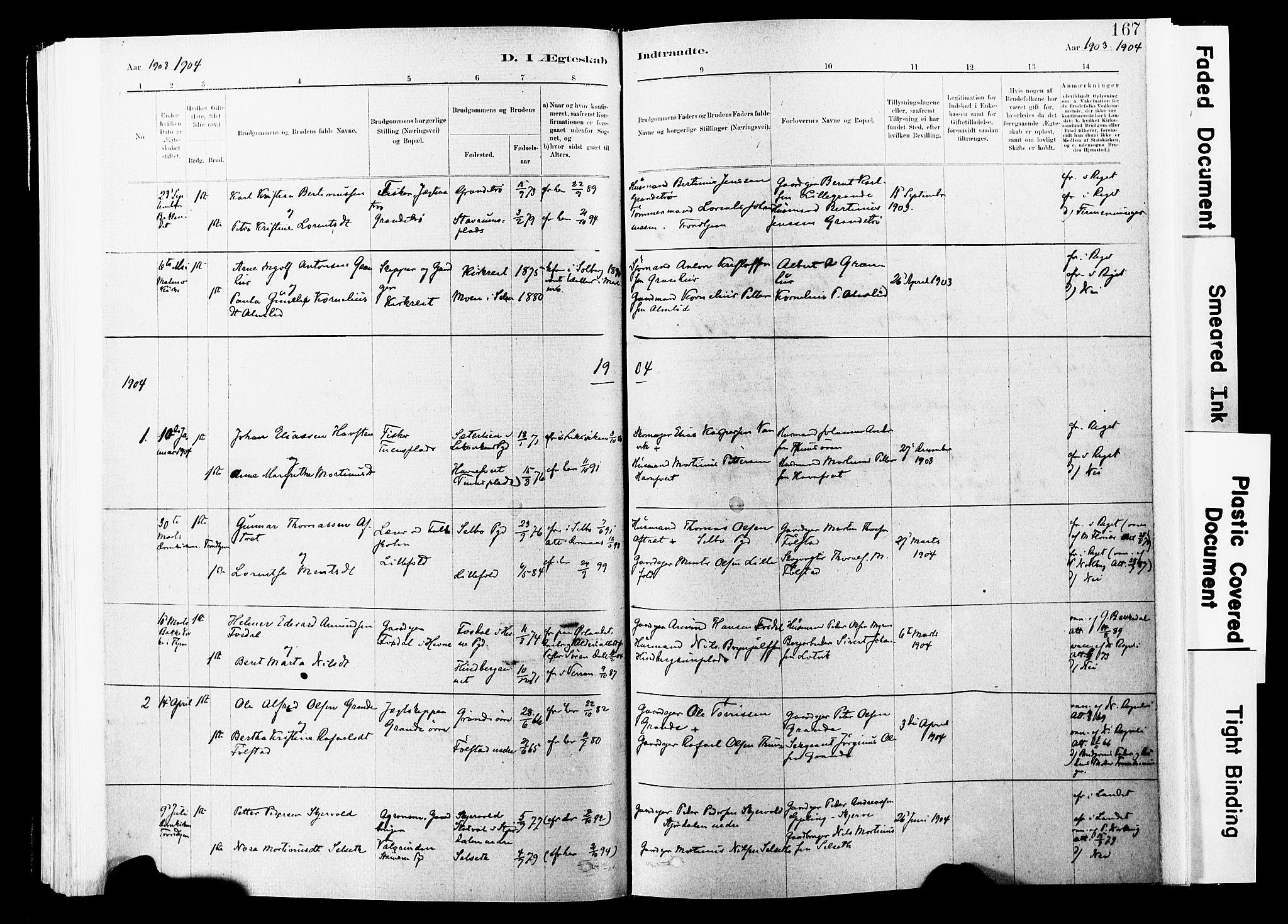 SAT, Ministerialprotokoller, klokkerbøker og fødselsregistre - Nord-Trøndelag, 744/L0420: Ministerialbok nr. 744A04, 1882-1904, s. 167