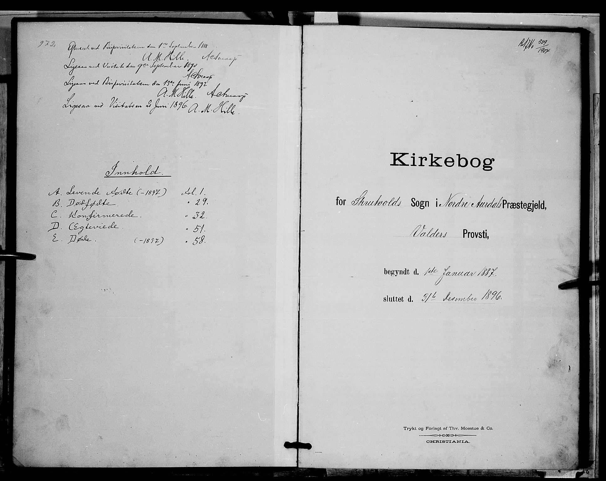 SAH, Nord-Aurdal prestekontor, Klokkerbok nr. 9, 1887-1897