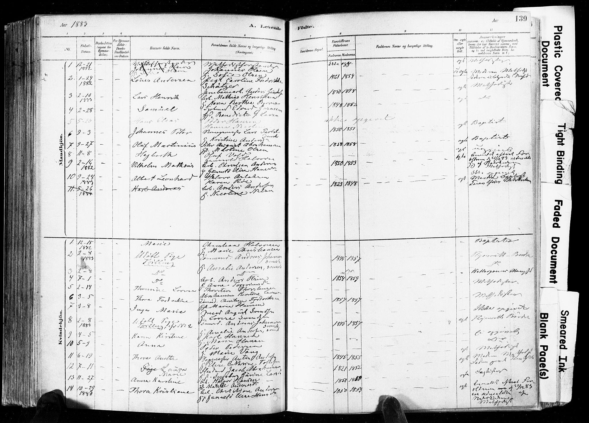 SAKO, Skien kirkebøker, F/Fa/L0009: Ministerialbok nr. 9, 1878-1890, s. 139