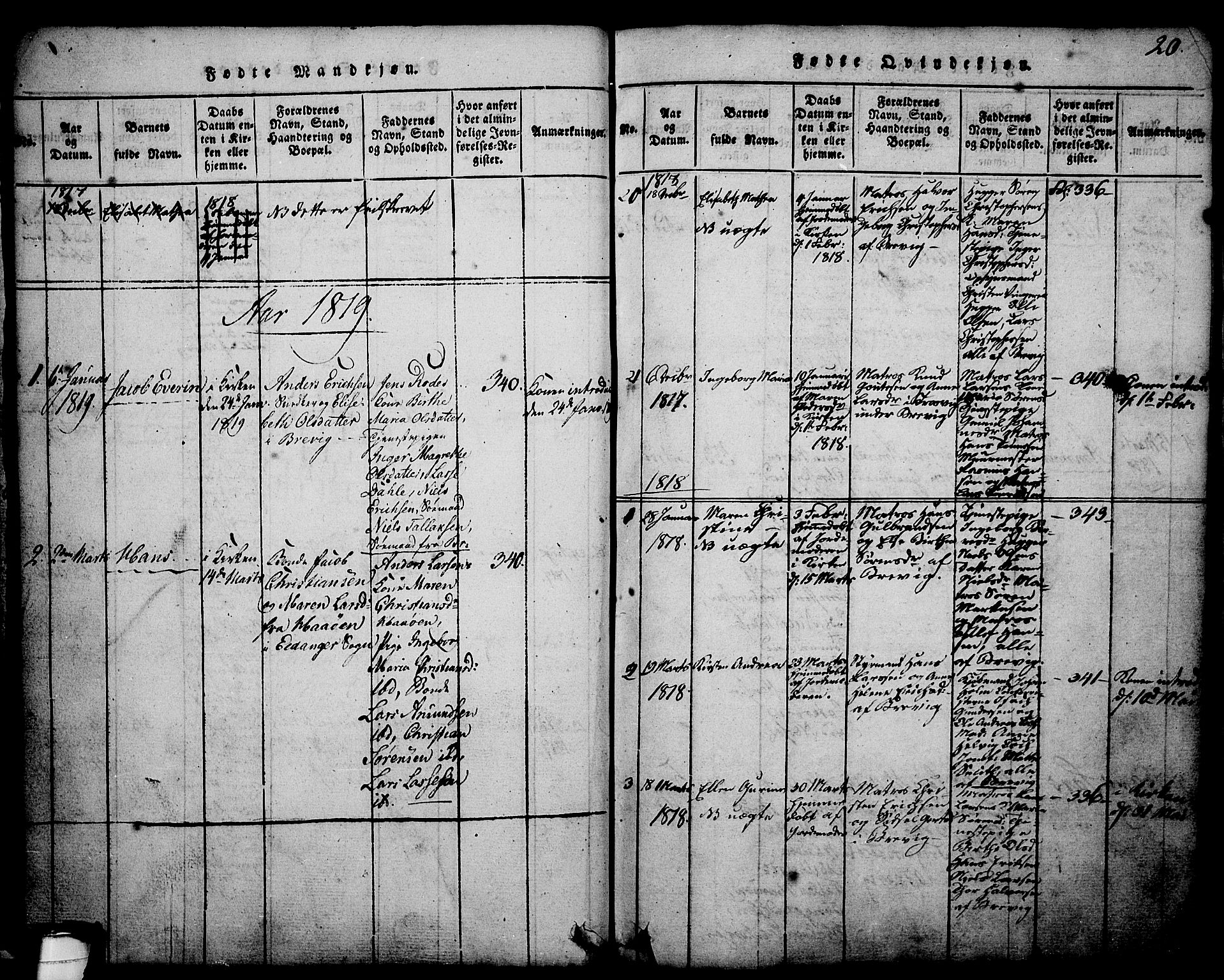 SAKO, Brevik kirkebøker, G/Ga/L0001: Klokkerbok nr. 1, 1814-1845, s. 20