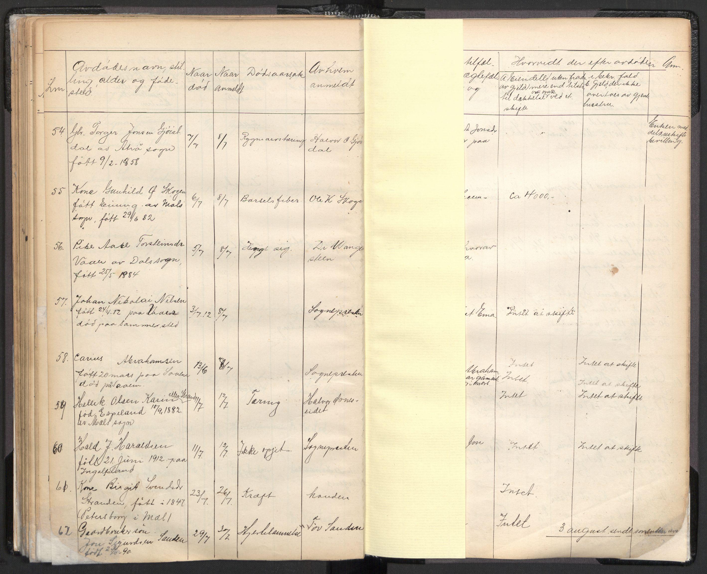 SAKO, Tinn lensmannskontor, H/Ha/L0001: Dødsfallsprotokoll, 1862-1912