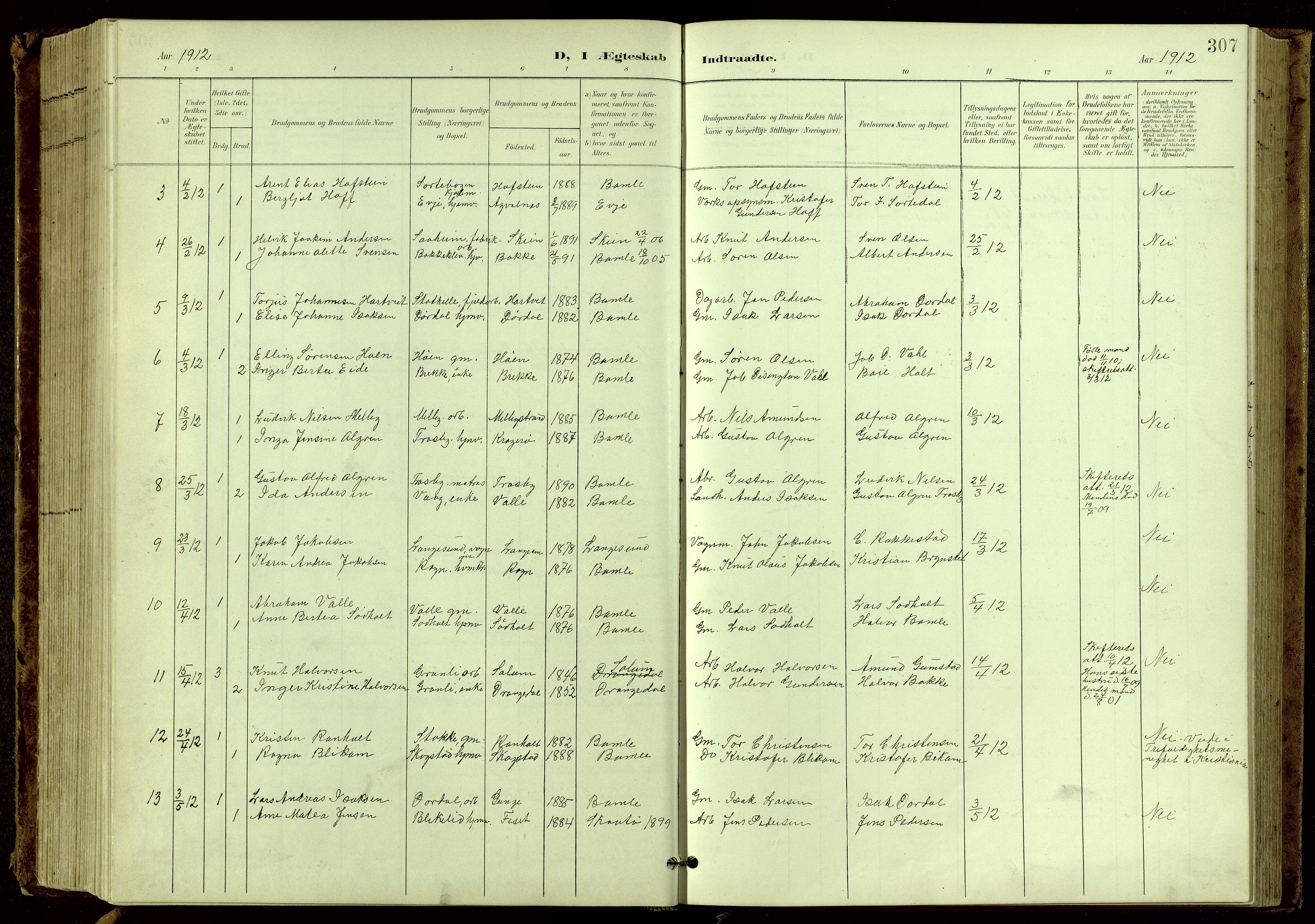 SAKO, Bamble kirkebøker, G/Ga/L0010: Klokkerbok nr. I 10, 1901-1919, s. 307