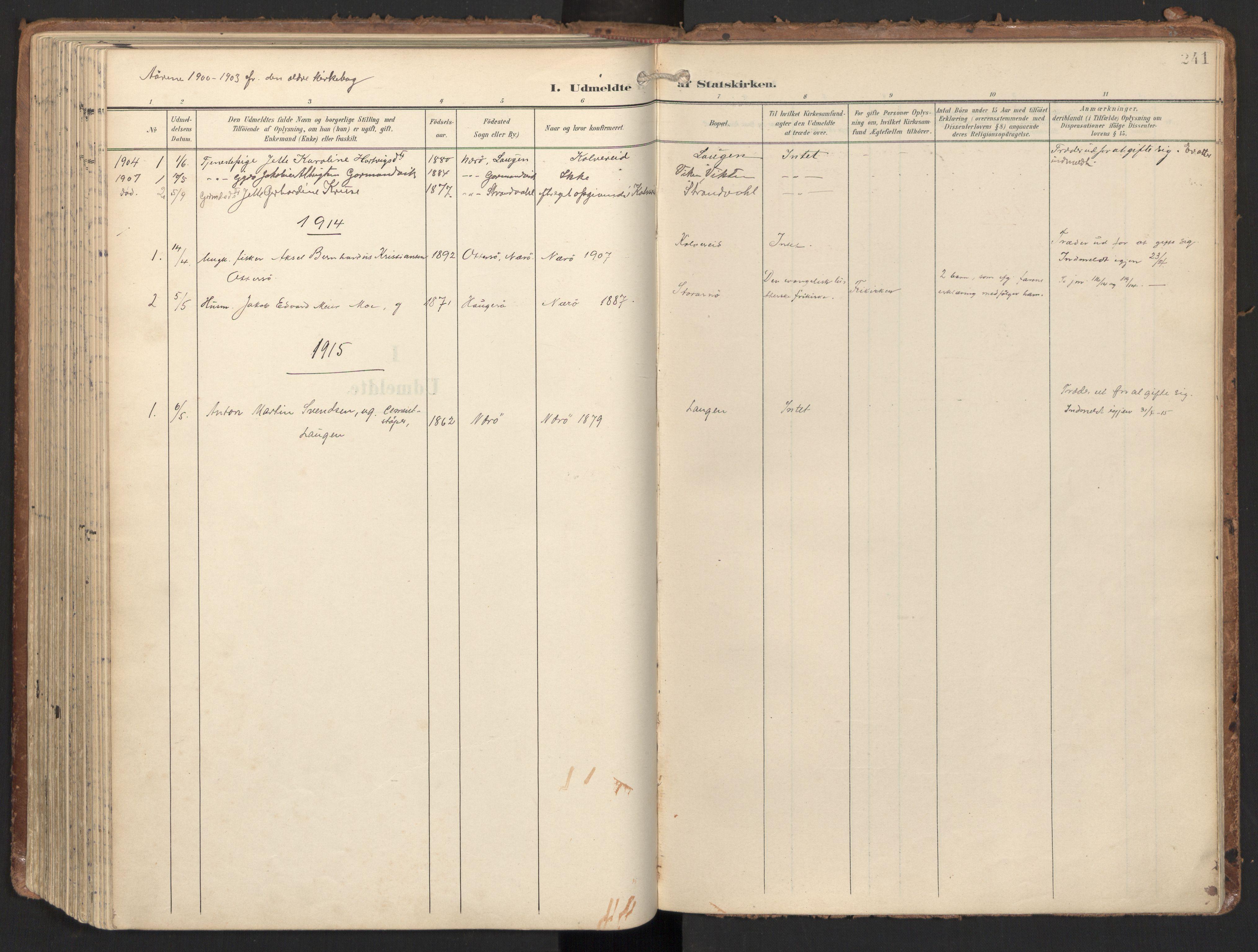 SAT, Ministerialprotokoller, klokkerbøker og fødselsregistre - Nord-Trøndelag, 784/L0677: Ministerialbok nr. 784A12, 1900-1920, s. 241