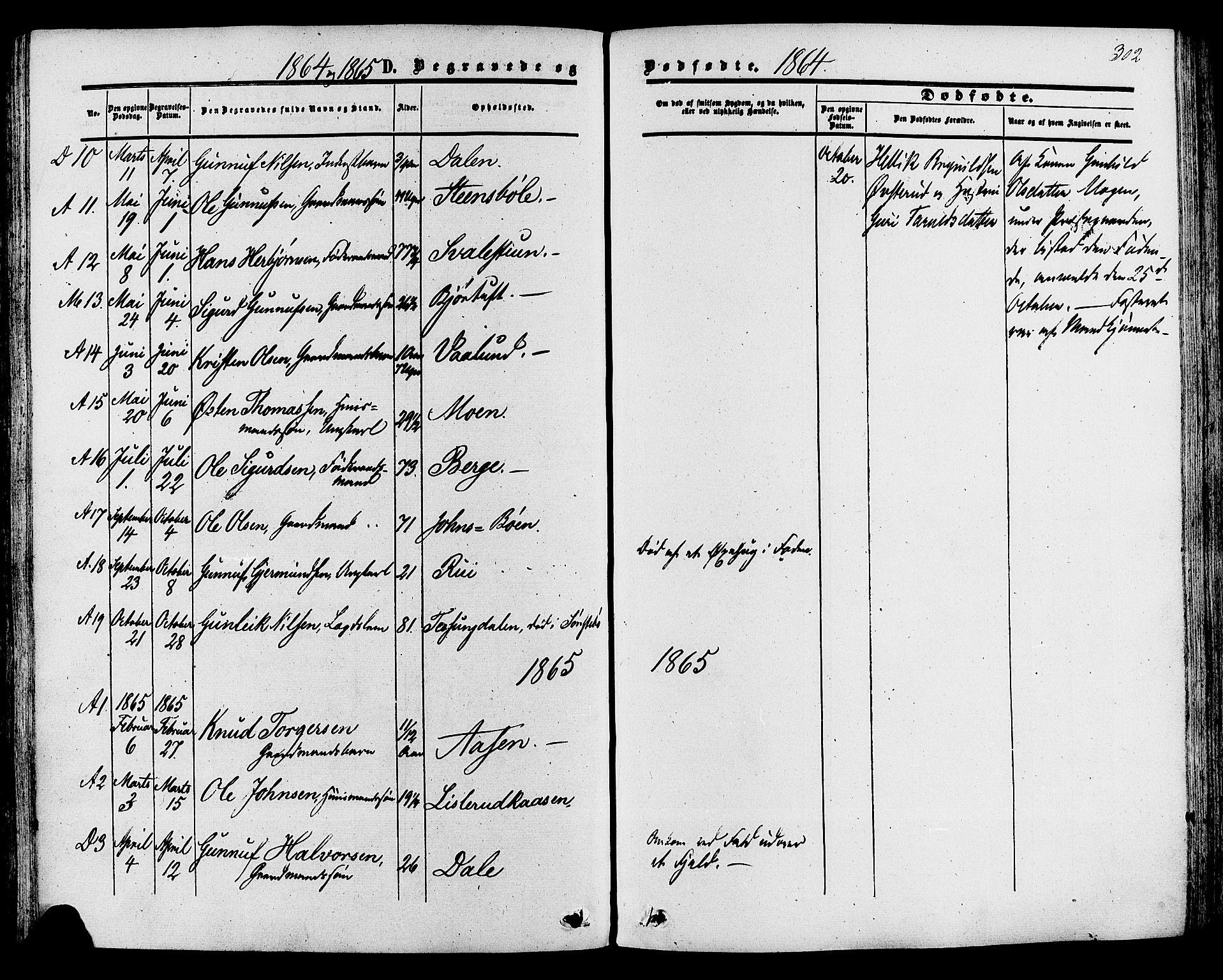 SAKO, Tinn kirkebøker, F/Fa/L0006: Ministerialbok nr. I 6, 1857-1878, s. 302