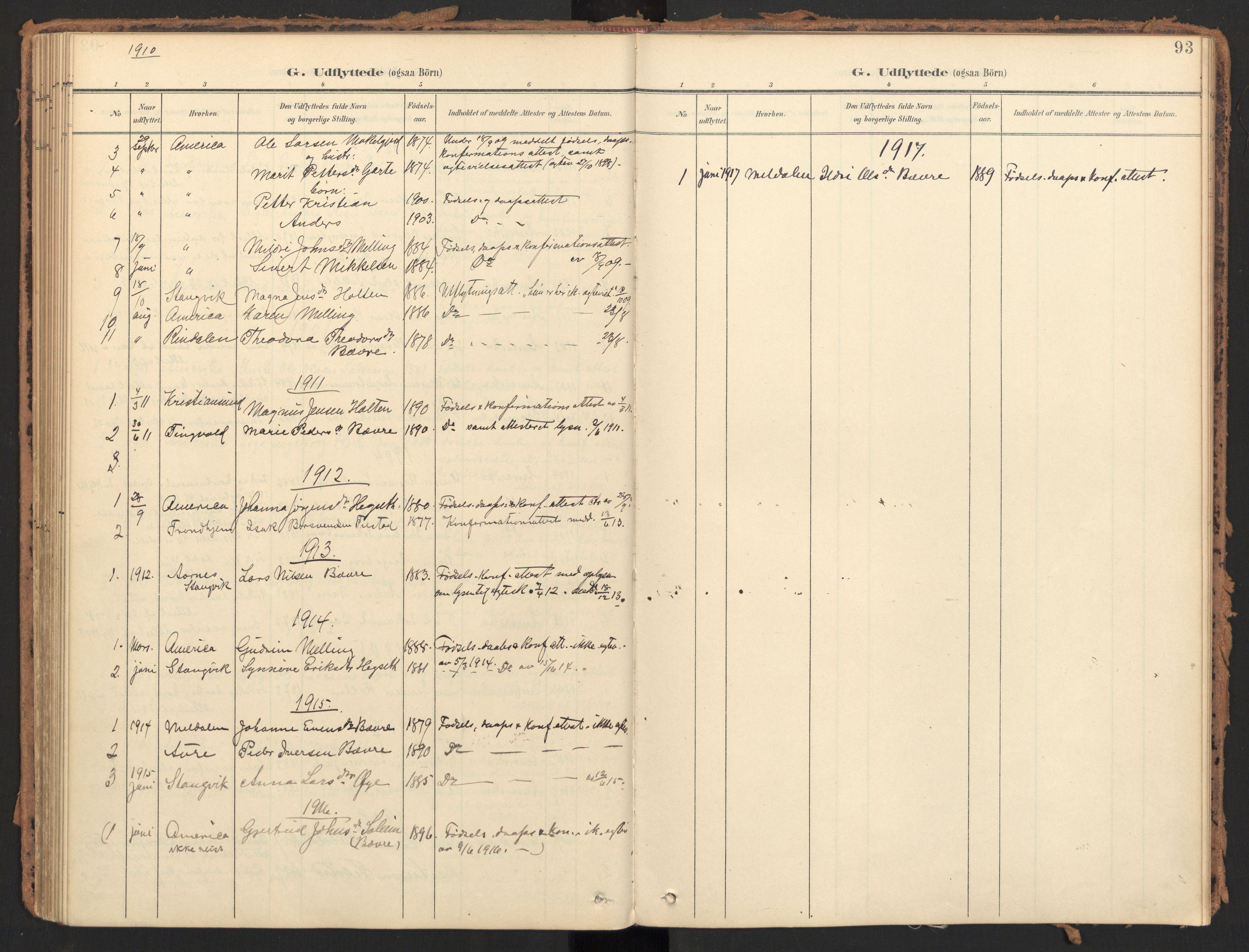 SAT, Ministerialprotokoller, klokkerbøker og fødselsregistre - Møre og Romsdal, 595/L1048: Ministerialbok nr. 595A10, 1900-1917, s. 93
