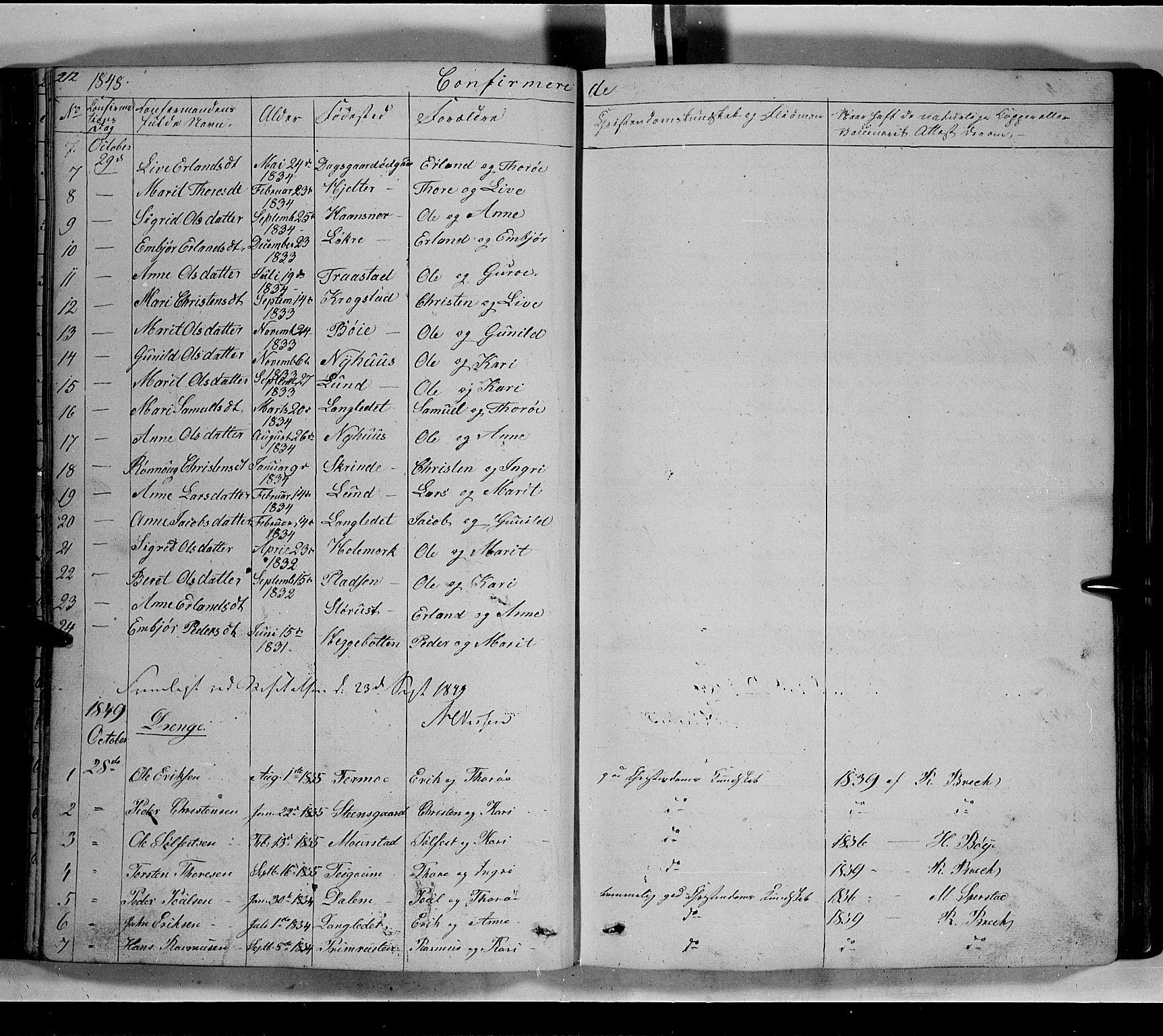 SAH, Lom prestekontor, L/L0004: Klokkerbok nr. 4, 1845-1864, s. 212-213