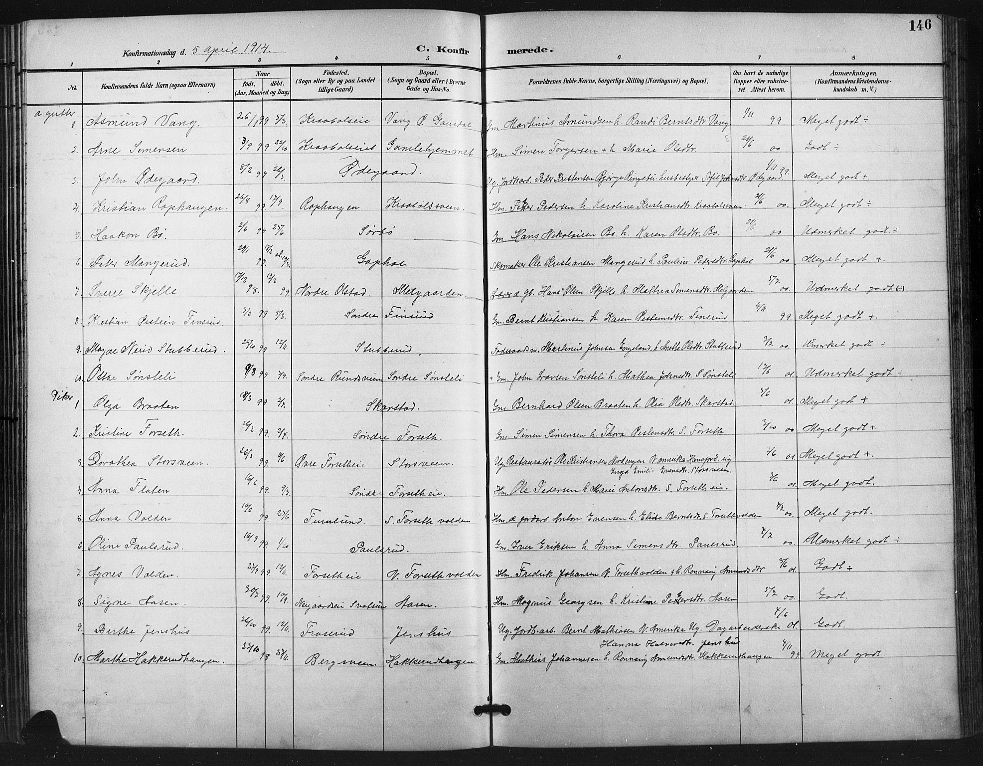 SAH, Vestre Gausdal prestekontor, Klokkerbok nr. 3, 1896-1925, s. 146