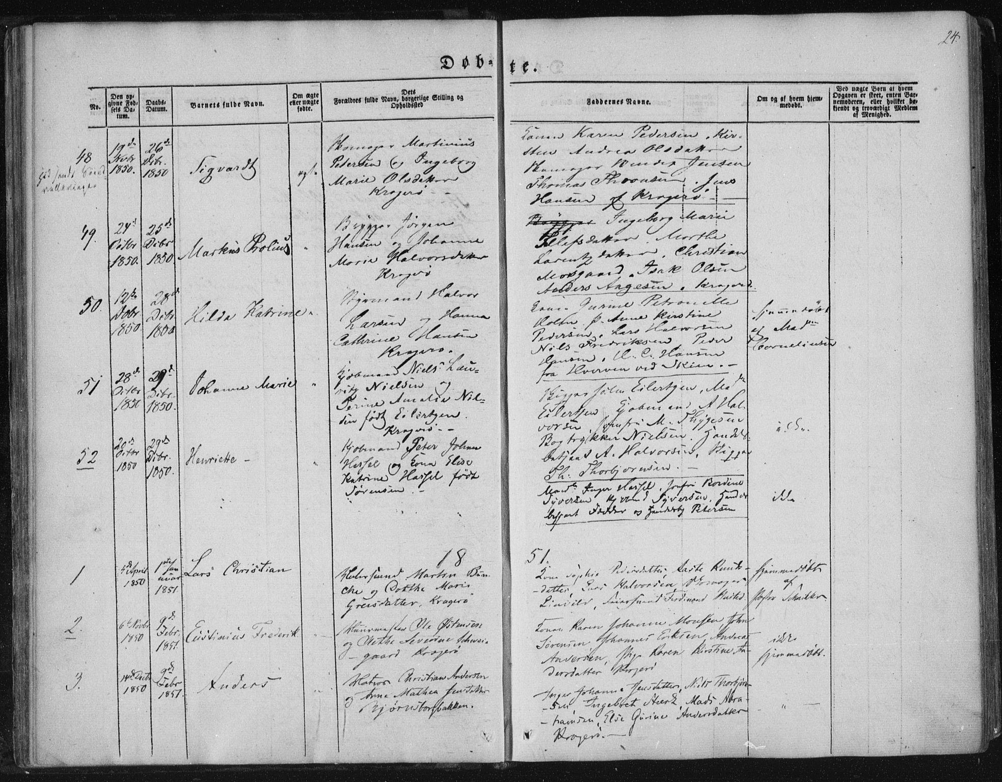 SAKO, Kragerø kirkebøker, F/Fa/L0006: Ministerialbok nr. 6, 1847-1861, s. 24