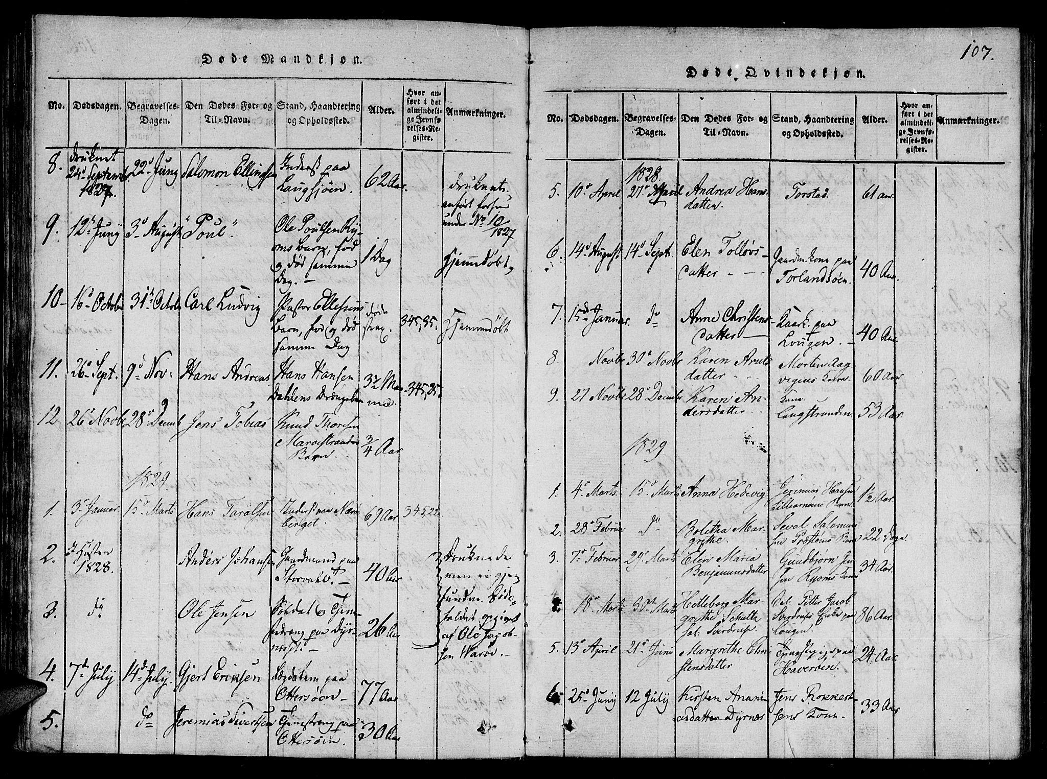 SAT, Ministerialprotokoller, klokkerbøker og fødselsregistre - Nord-Trøndelag, 784/L0667: Ministerialbok nr. 784A03 /1, 1816-1829, s. 107
