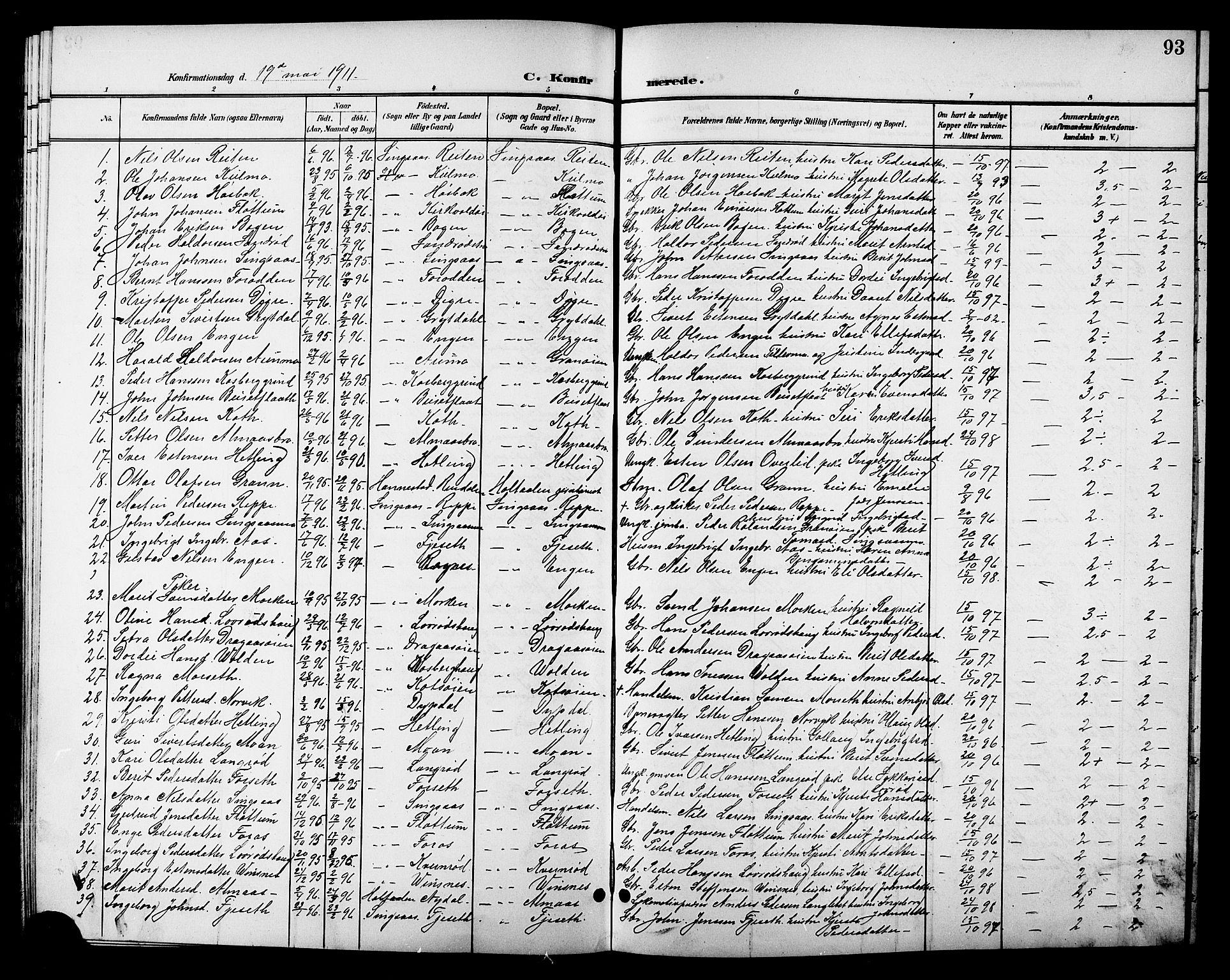 SAT, Ministerialprotokoller, klokkerbøker og fødselsregistre - Sør-Trøndelag, 688/L1029: Klokkerbok nr. 688C04, 1899-1915, s. 93